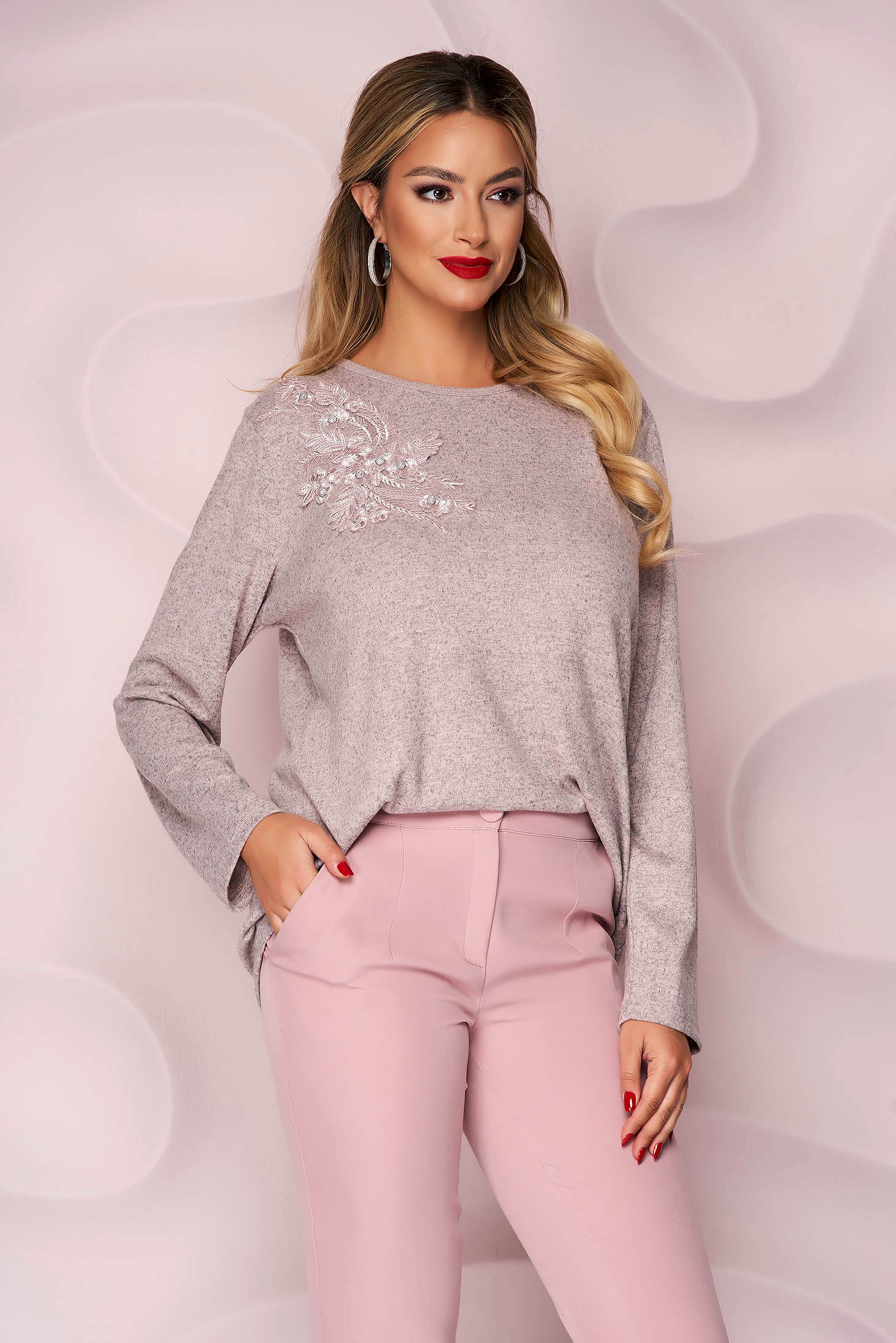 Lightpink sweater office loose fit thin fabric from elastic fabric knitted fabric