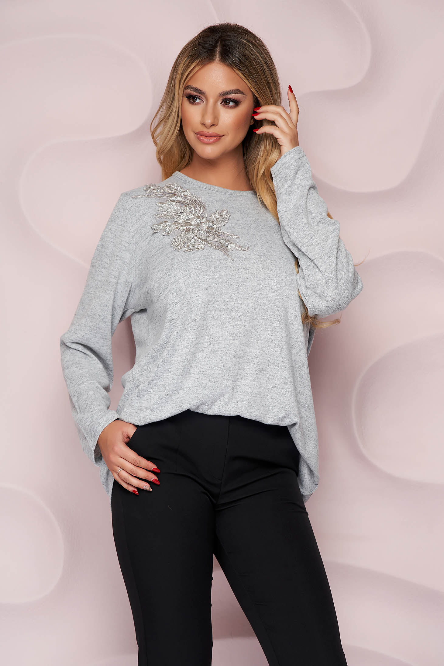 Grey sweater office loose fit thin fabric from elastic fabric knitted fabric
