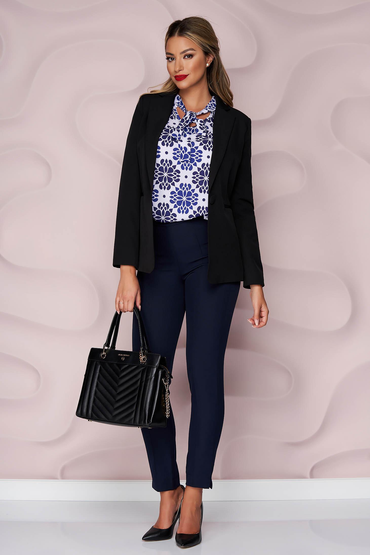 Bluza dama StarShinerS office cu croi larg asimetrica material subtire din material subtire si neelastic si imprimeu floral unic