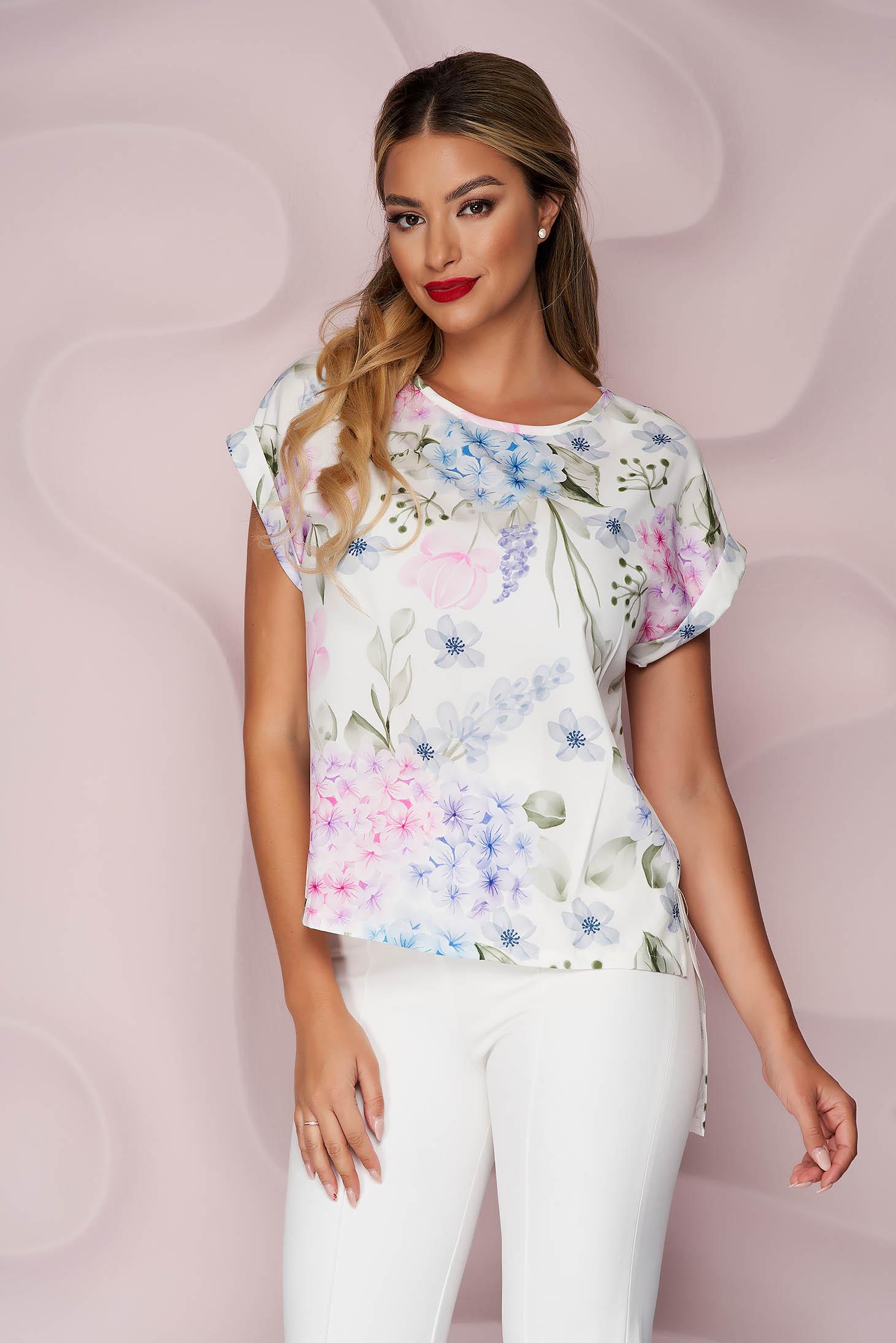 Bluza dama StarShinerS office asimetrica cu croi larg din material fin la atingere cu imprimeu floral unic