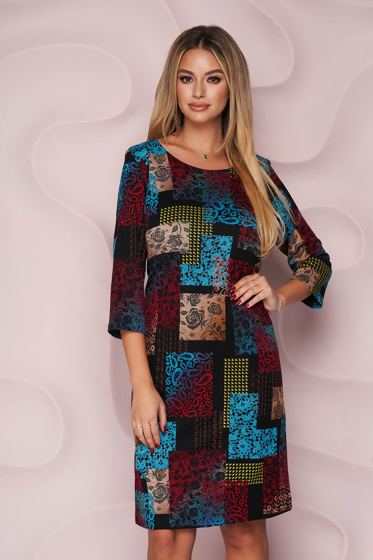 StarShinerS dress straight midi office from elastic fabric with 3/4 sleeves knitted