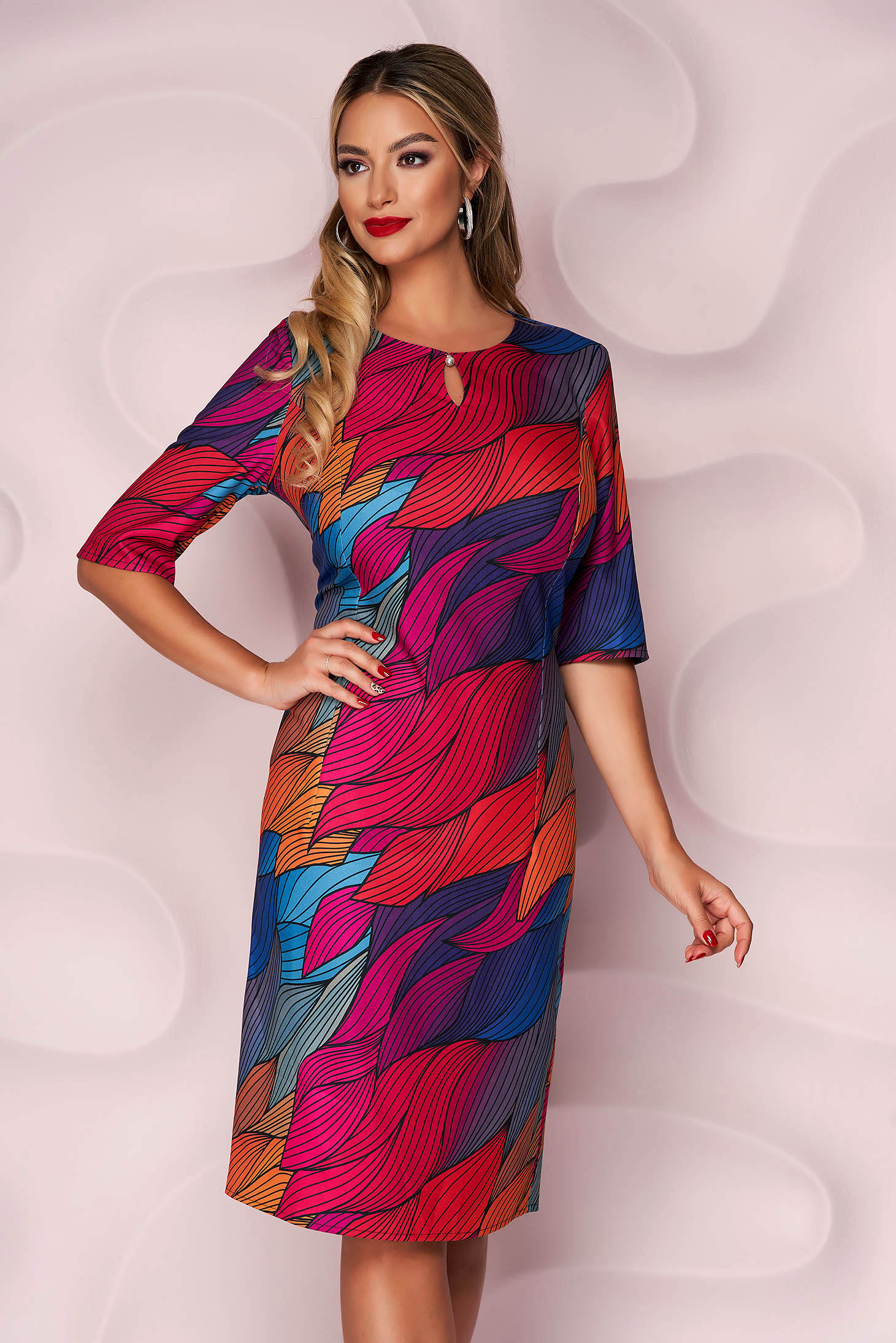 Dress office straight midi thin fabric slightly elastic fabric with graphic details