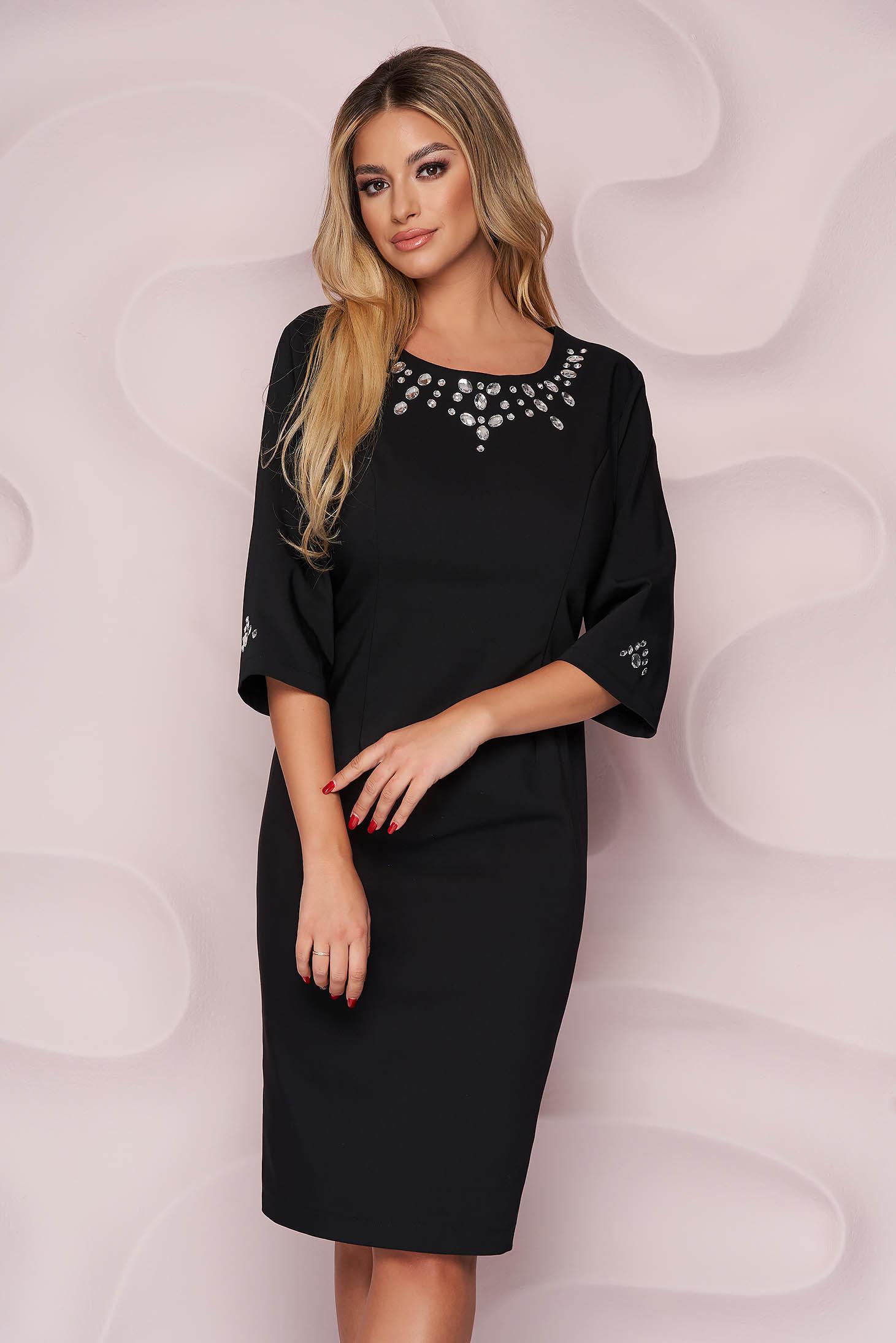 Black dress elegant straight midi cloth with crystal embellished details nonelastic fabric