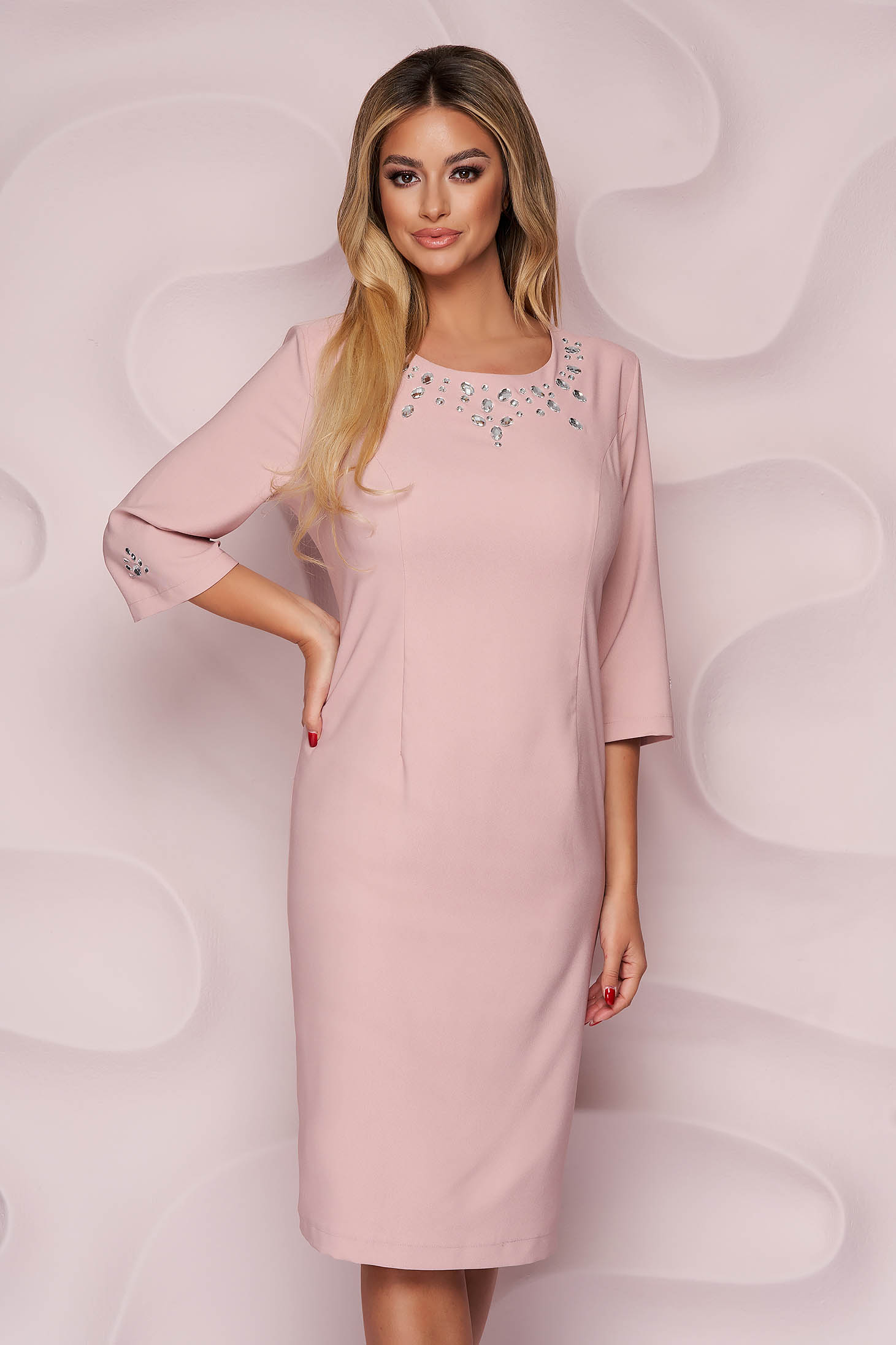 Lightpink dress elegant straight midi cloth with crystal embellished details nonelastic fabric