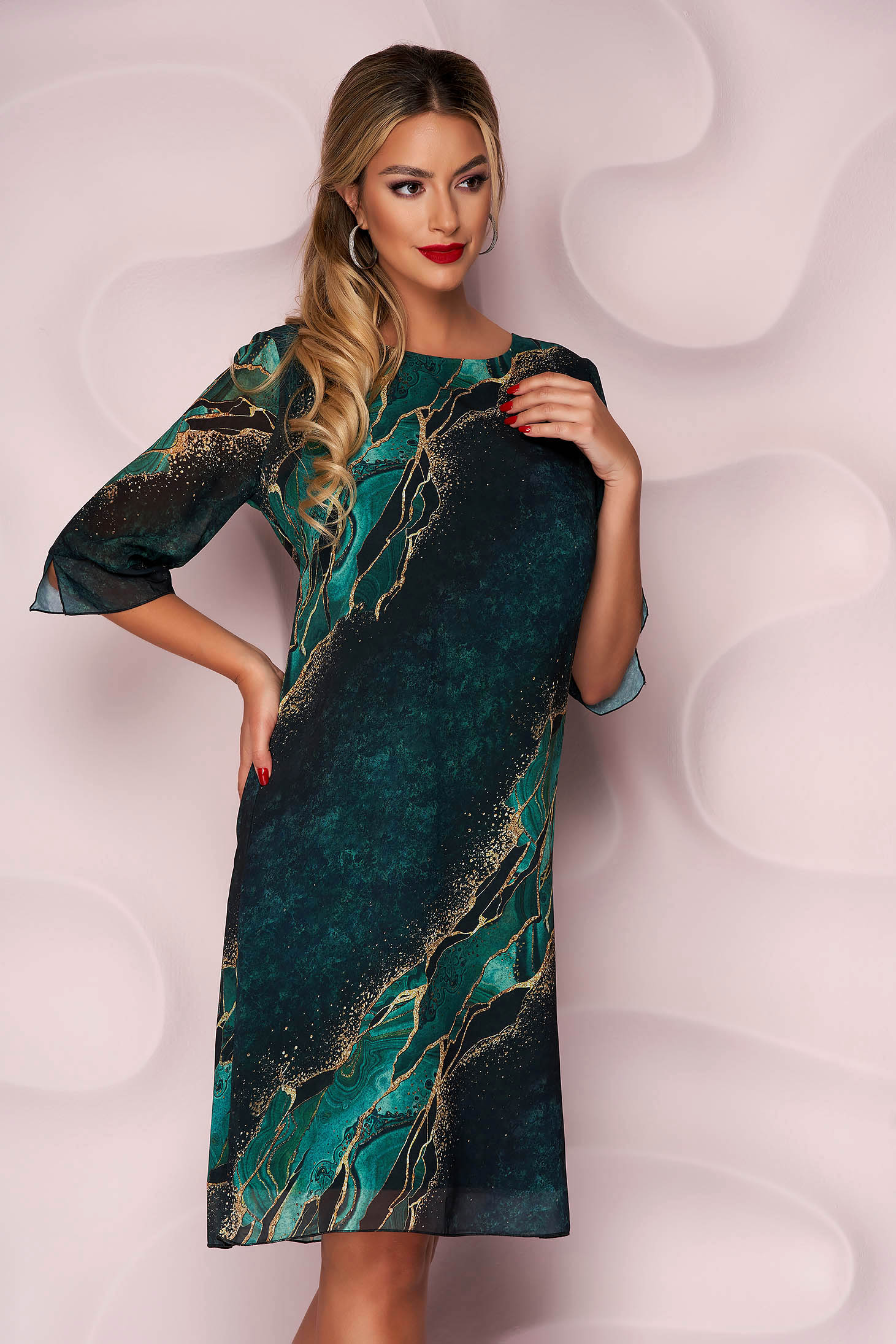 StarShinerS dress from veil fabric casual straight thin fabric nonelastic fabric with veil sleeves