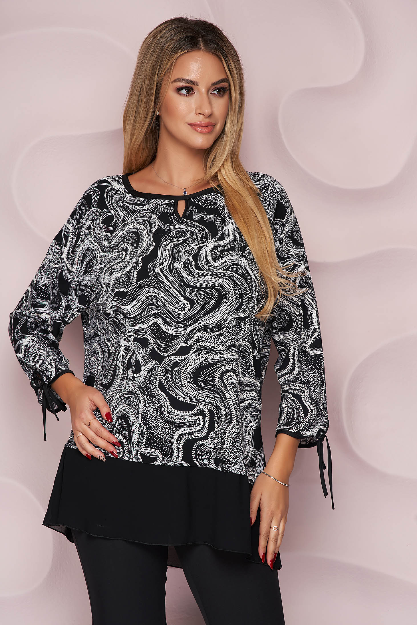 Women`s blouse office loose fit light material from elastic fabric with graphic details