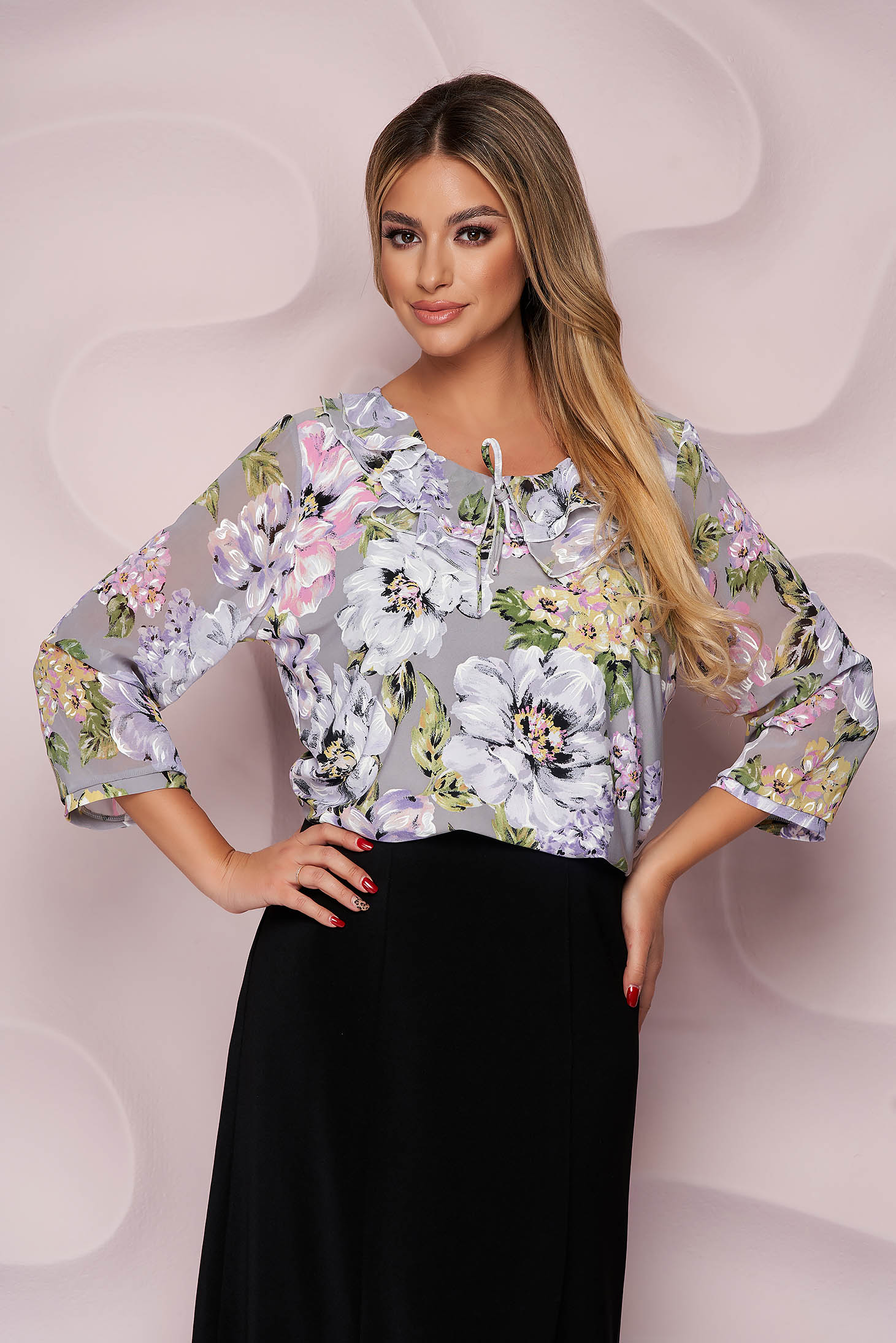 Women`s blouse office loose fit thin fabric from elastic fabric with veil sleeves