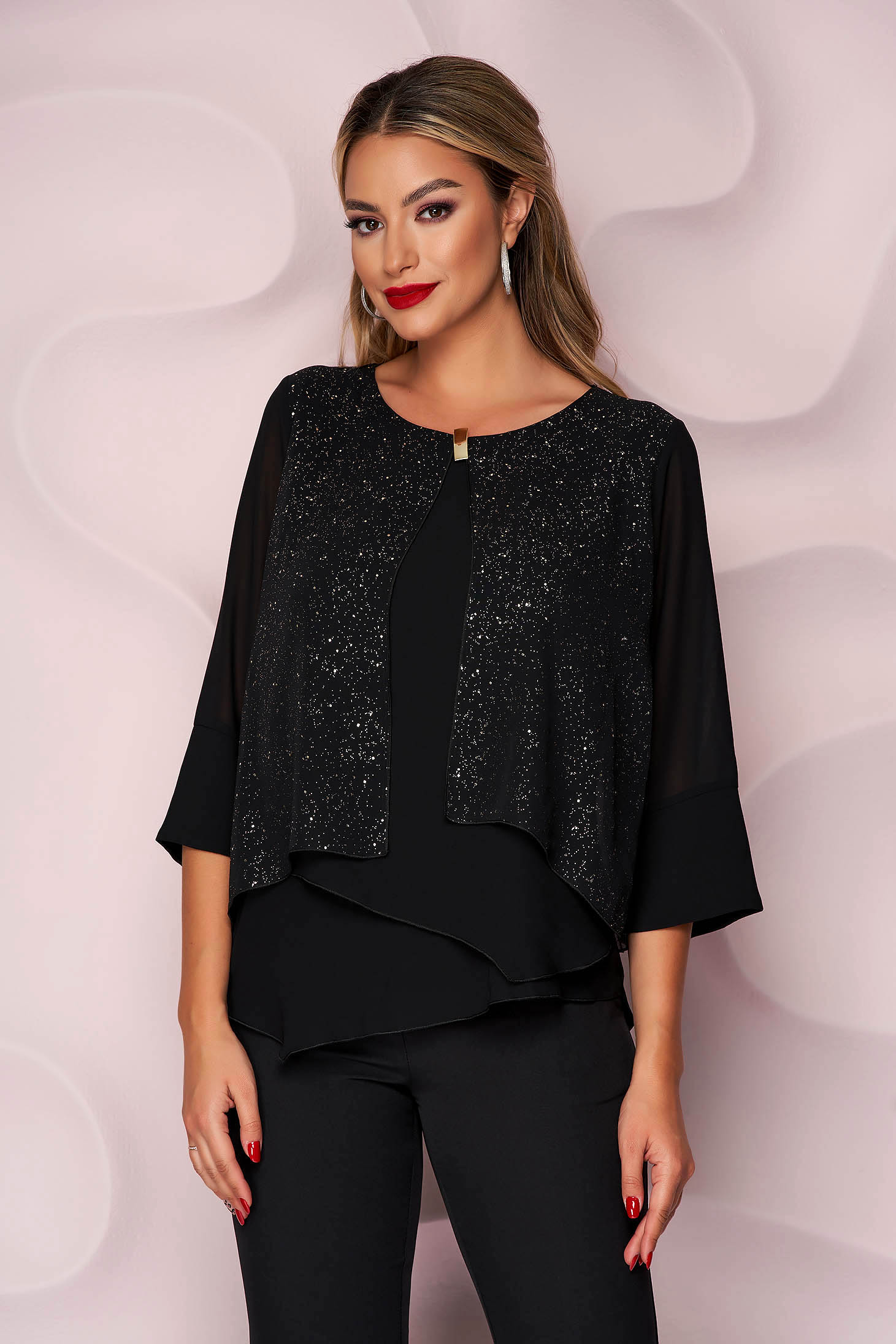Black women`s blouse loose fit thin fabric from veil fabric accessorized with breastpin asymmetrical office