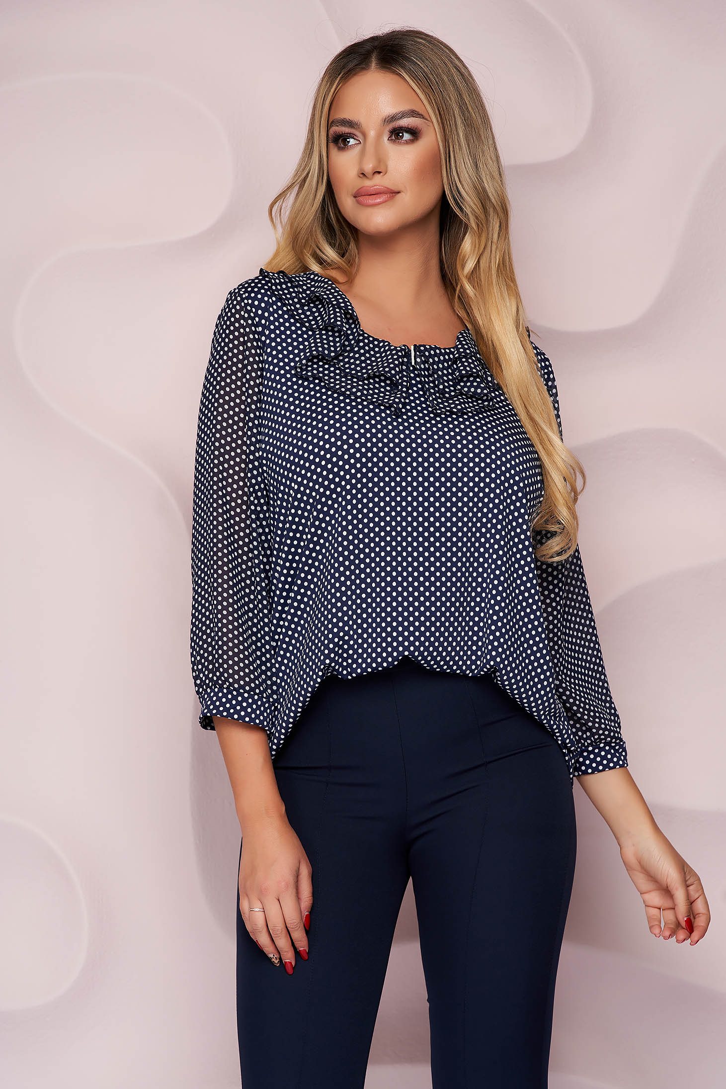 Women`s blouse thin fabric from veil fabric office loose fit ruffled collar from elastic fabric