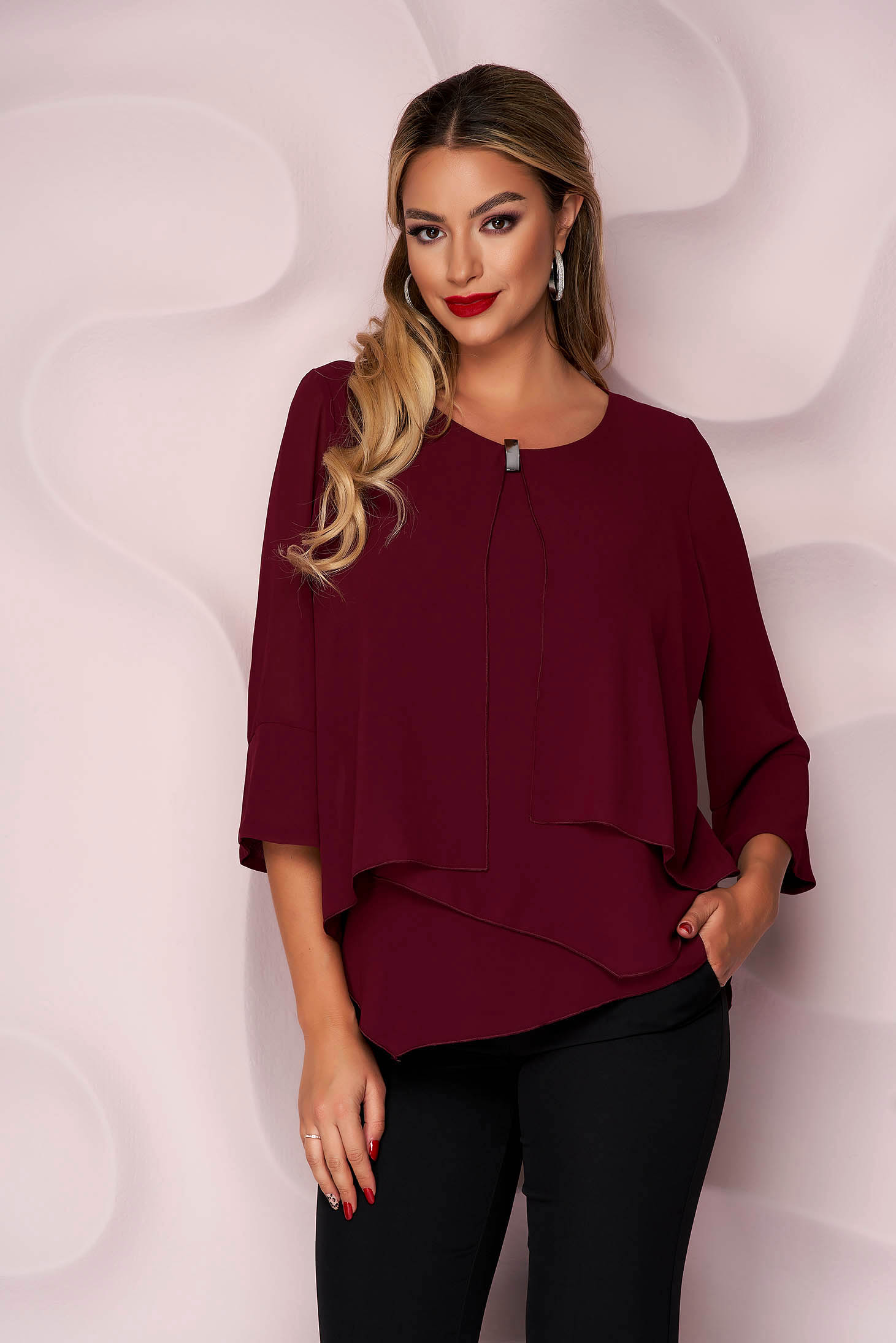 Burgundy women`s blouse asymmetrical with metalic accessory loose fit office airy fabric thin fabric