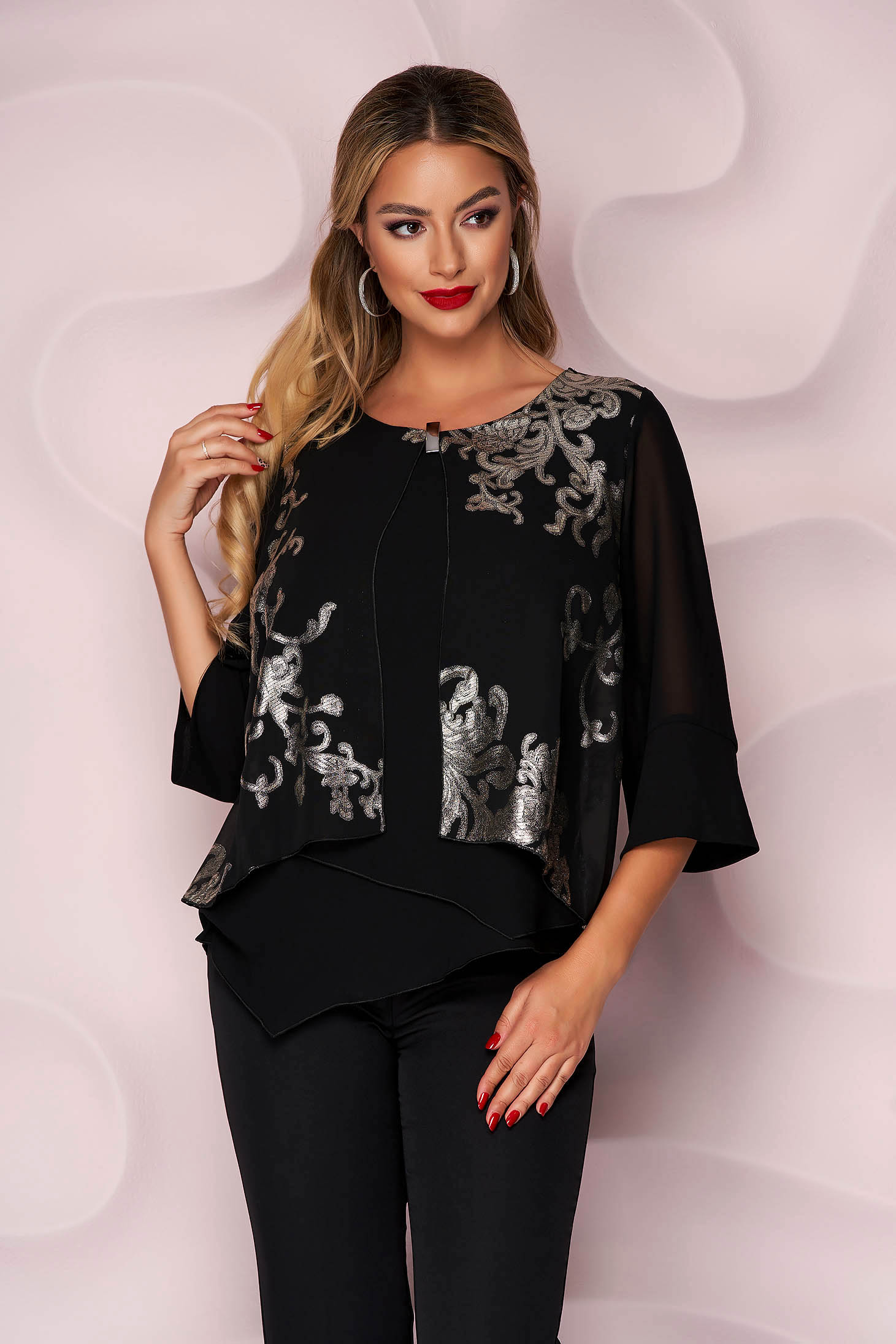 Women`s blouse office asymmetrical loose fit thin fabric accessorized with breastpin