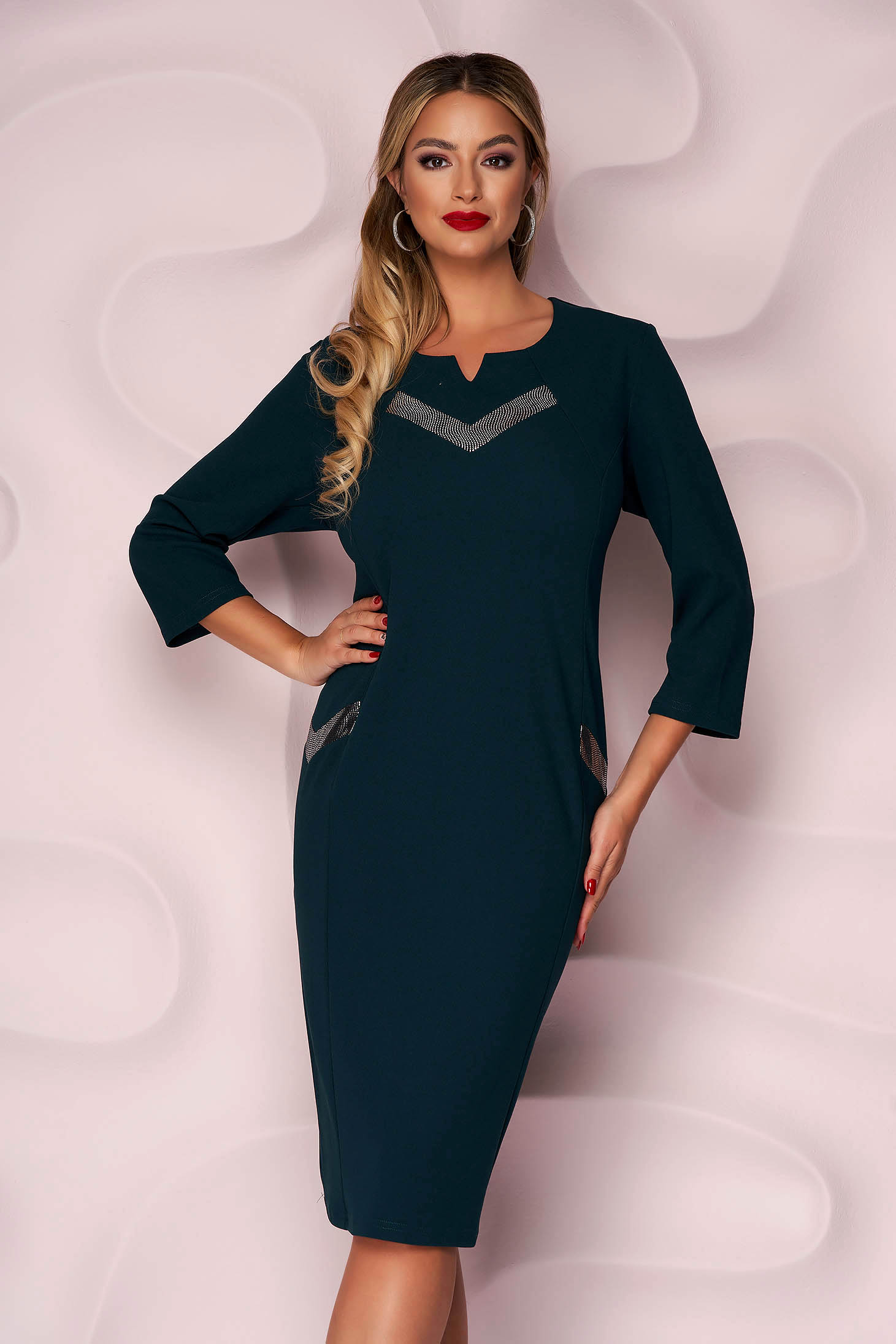 Darkgreen dress midi pencil office thin fabric from elastic fabric with 3/4 sleeves
