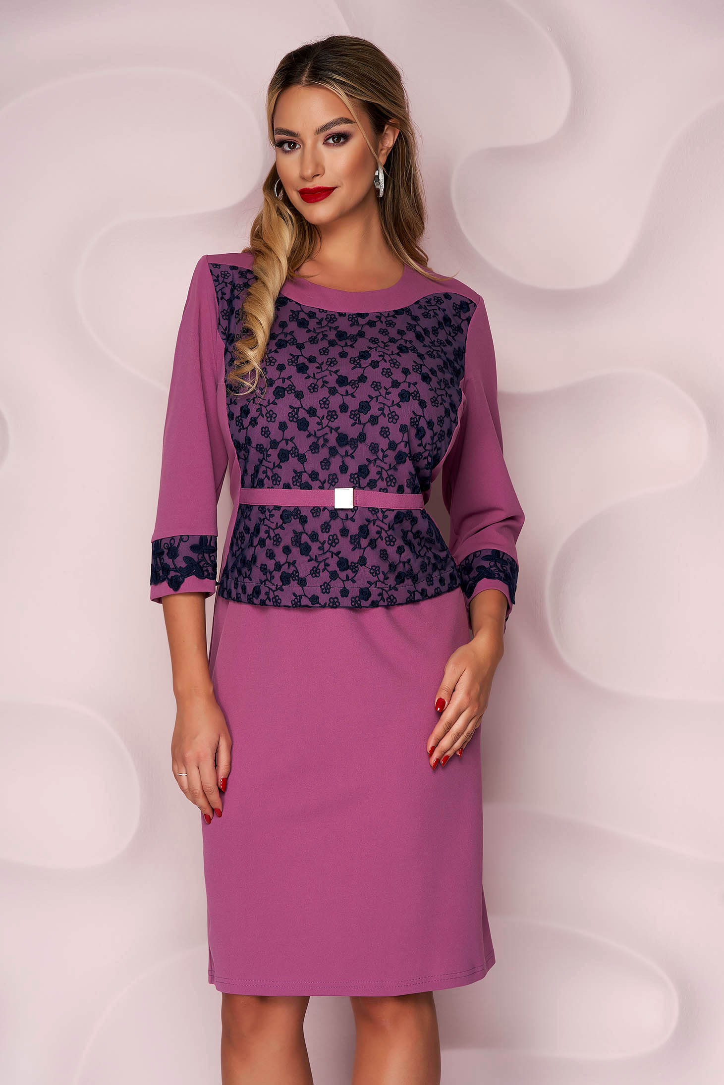 Purple dress midi pencil with lace details from elastic fabric thin fabric elegant