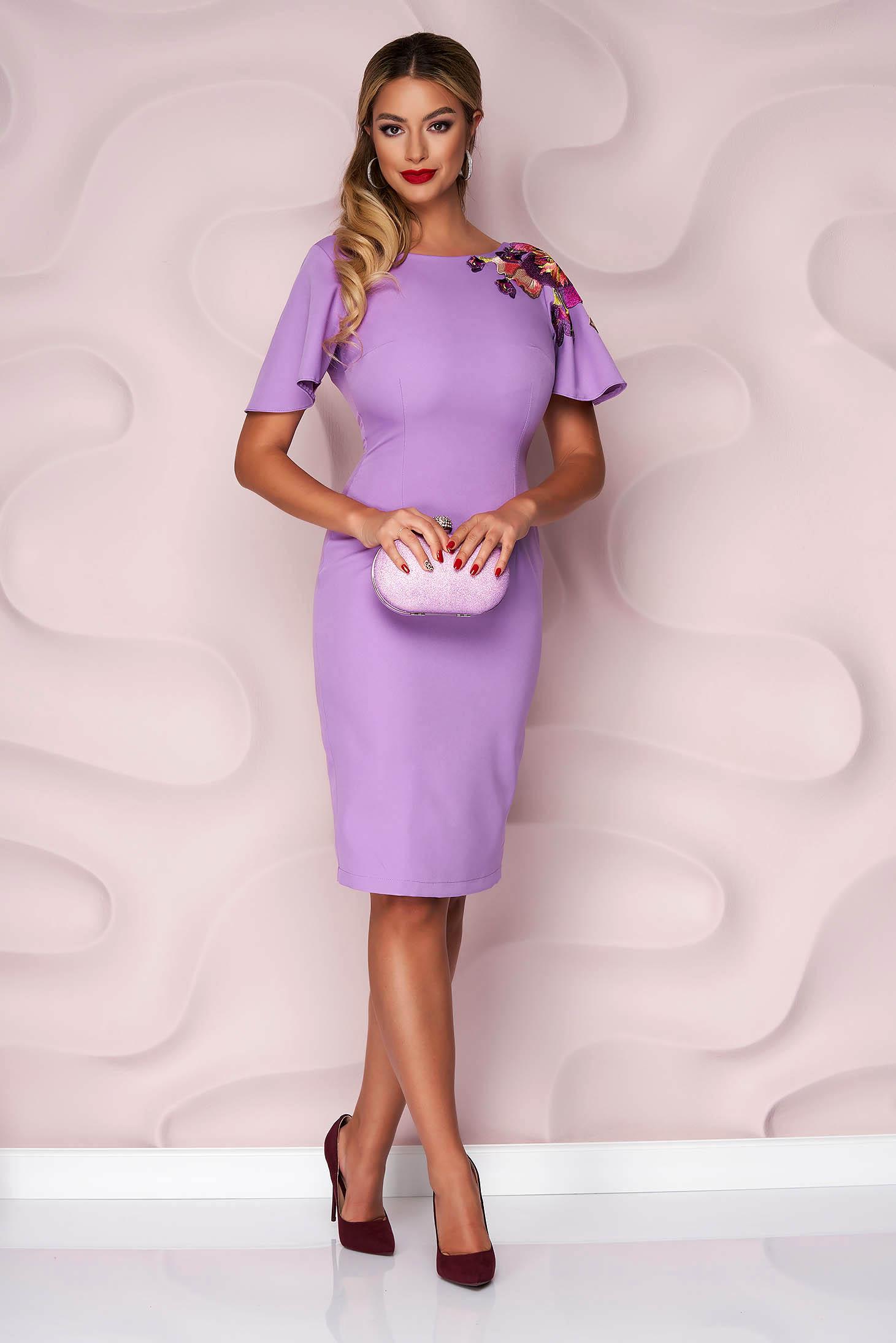StarShinerS lila elegant pencil dress slightly elastic fabric with embroidery details short sleeve midi