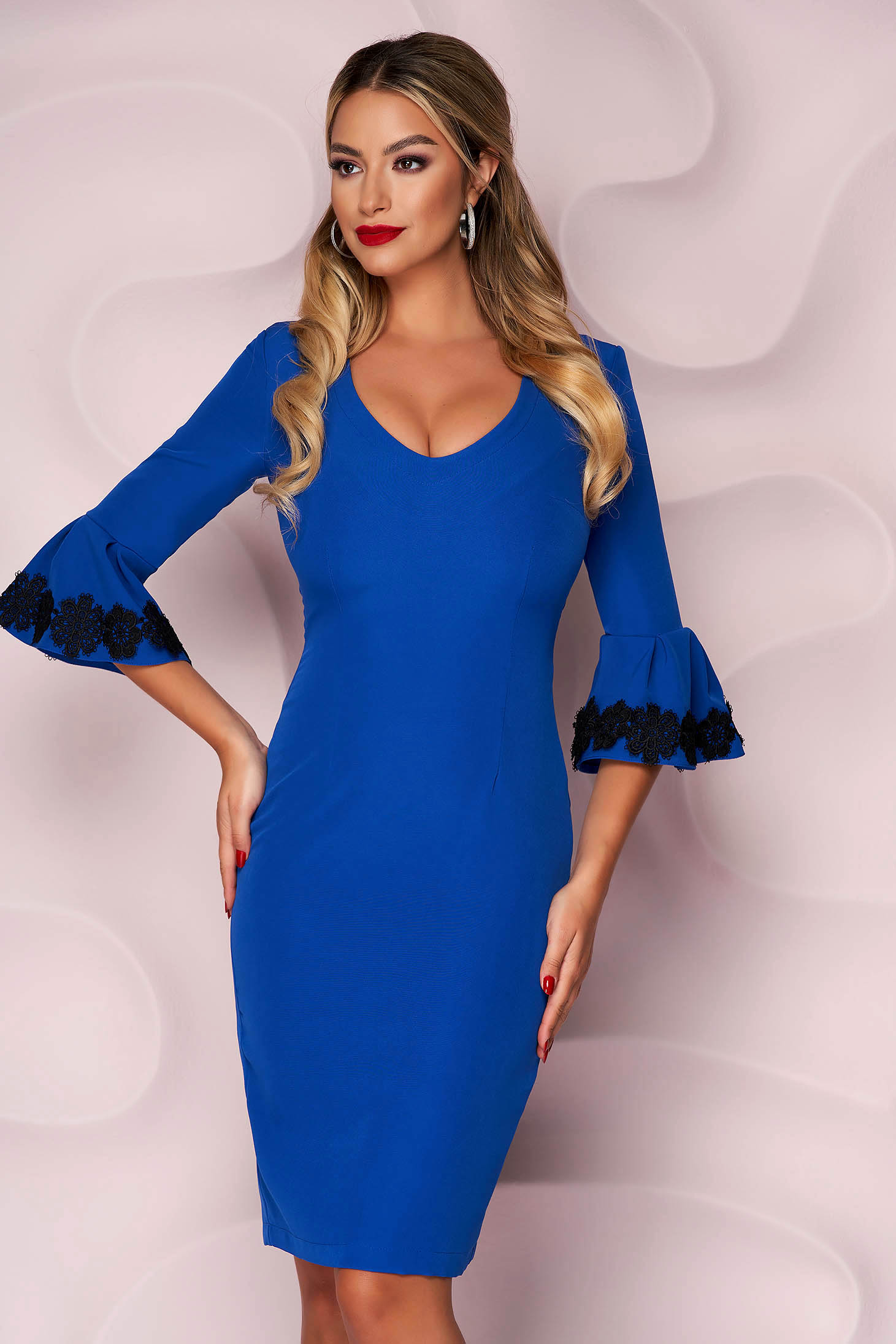 StarShinerS blue dress with embroidery details midi pencil bell sleeves