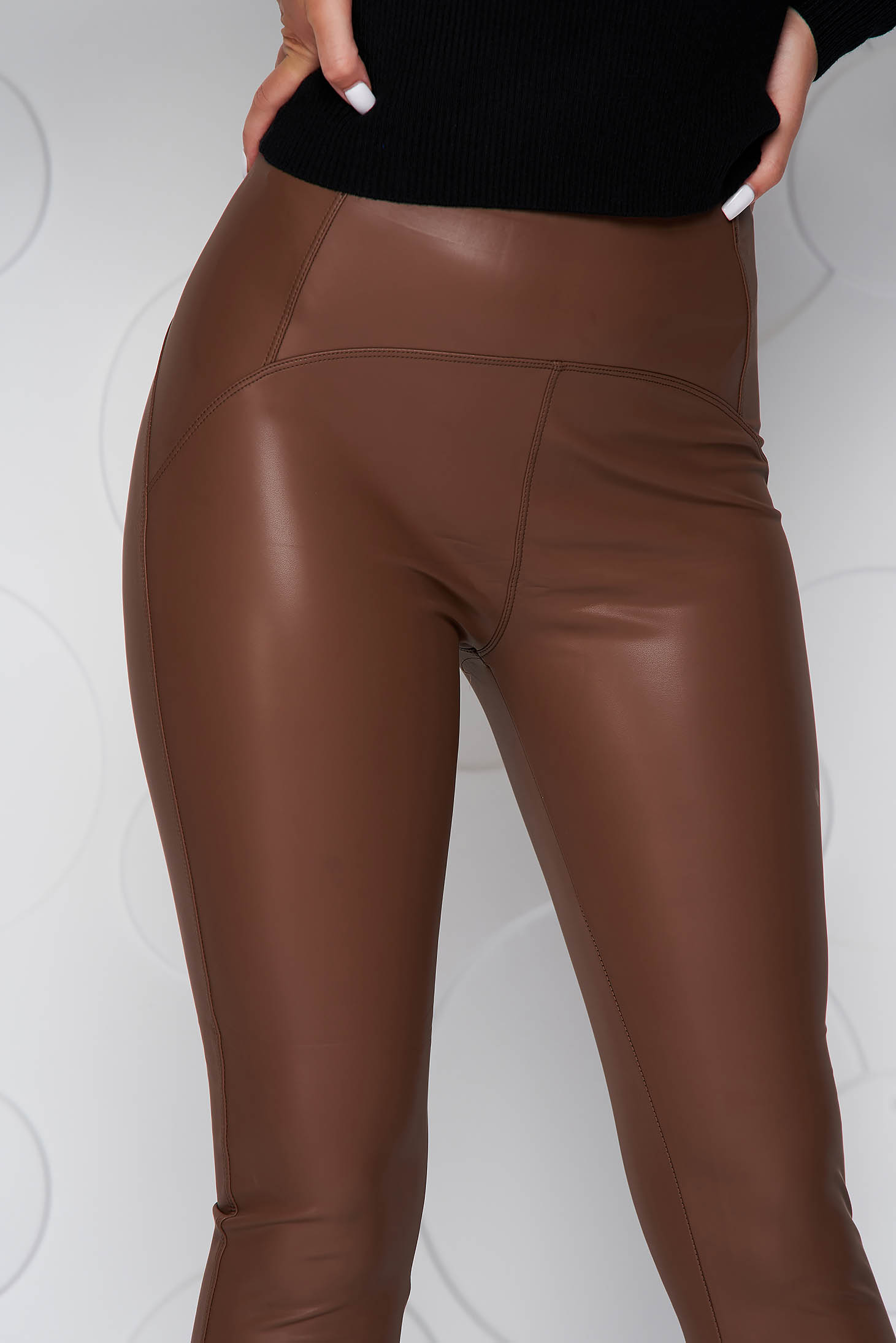 Brown tights high waisted ecological leather from fluffy fabric