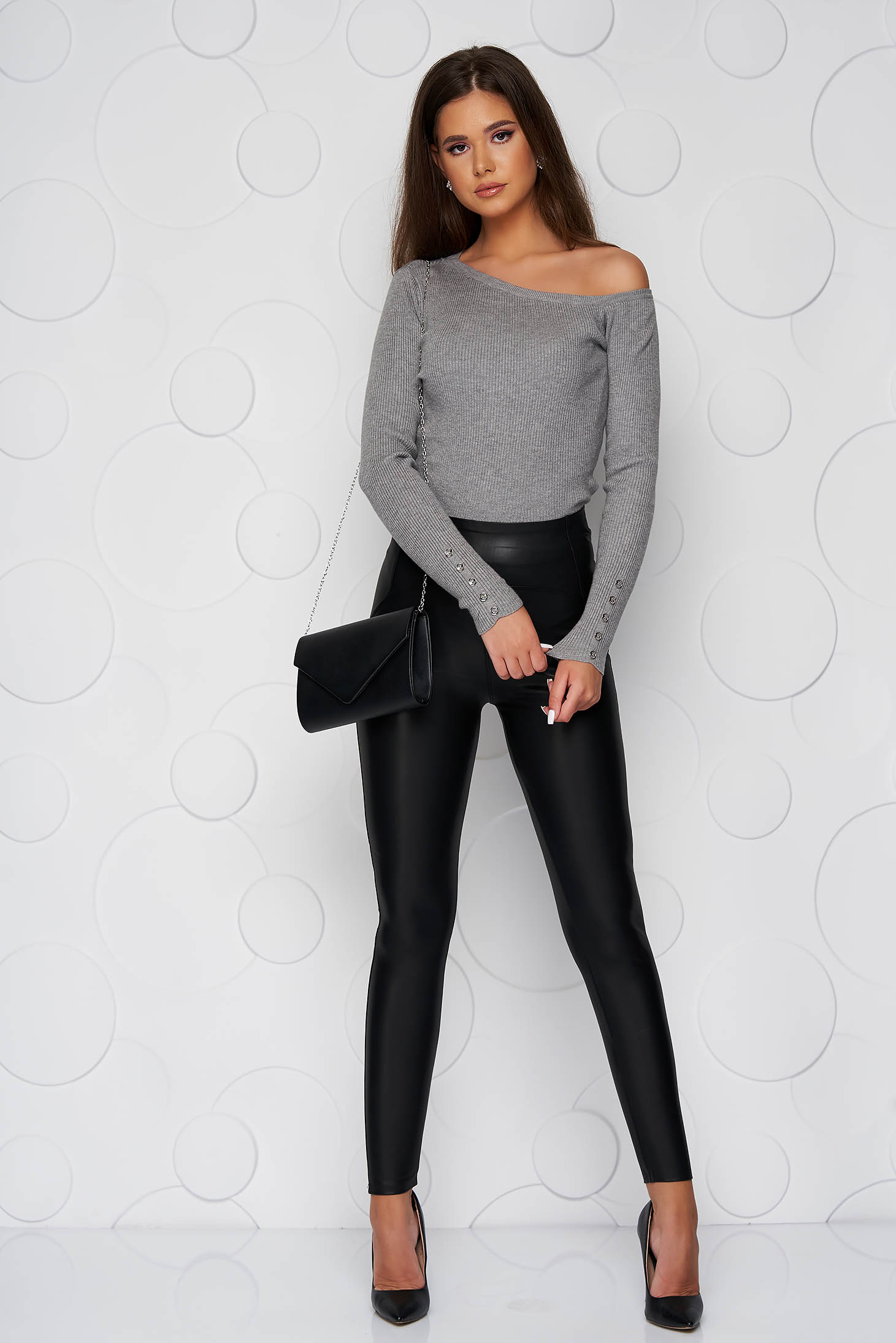 Black tights high waisted ecological leather from fluffy fabric