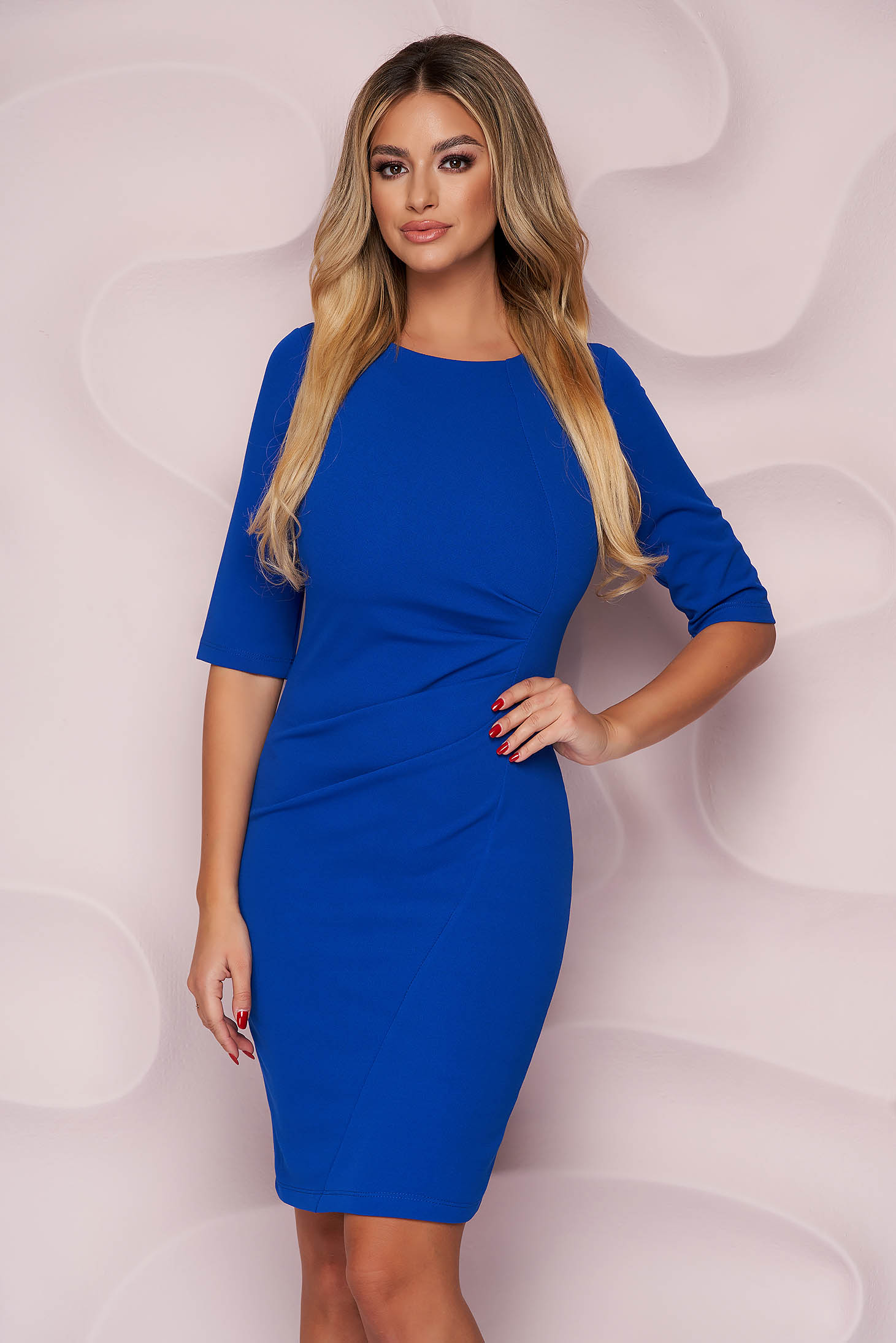 Blue dress pencil midi office thin fabric from elastic fabric with 3/4 sleeves