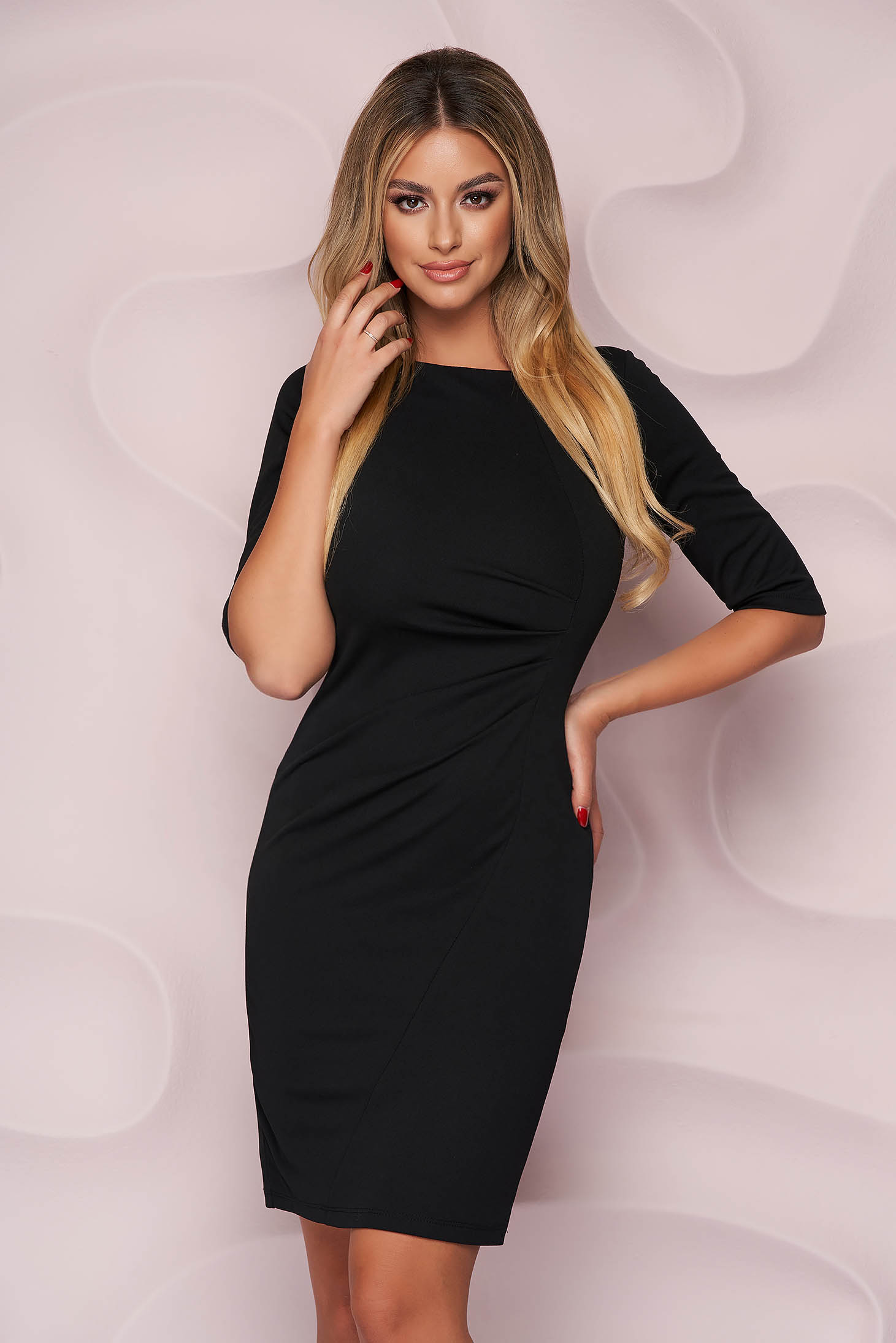Black dress pencil midi office thin fabric from elastic fabric with 3/4 sleeves