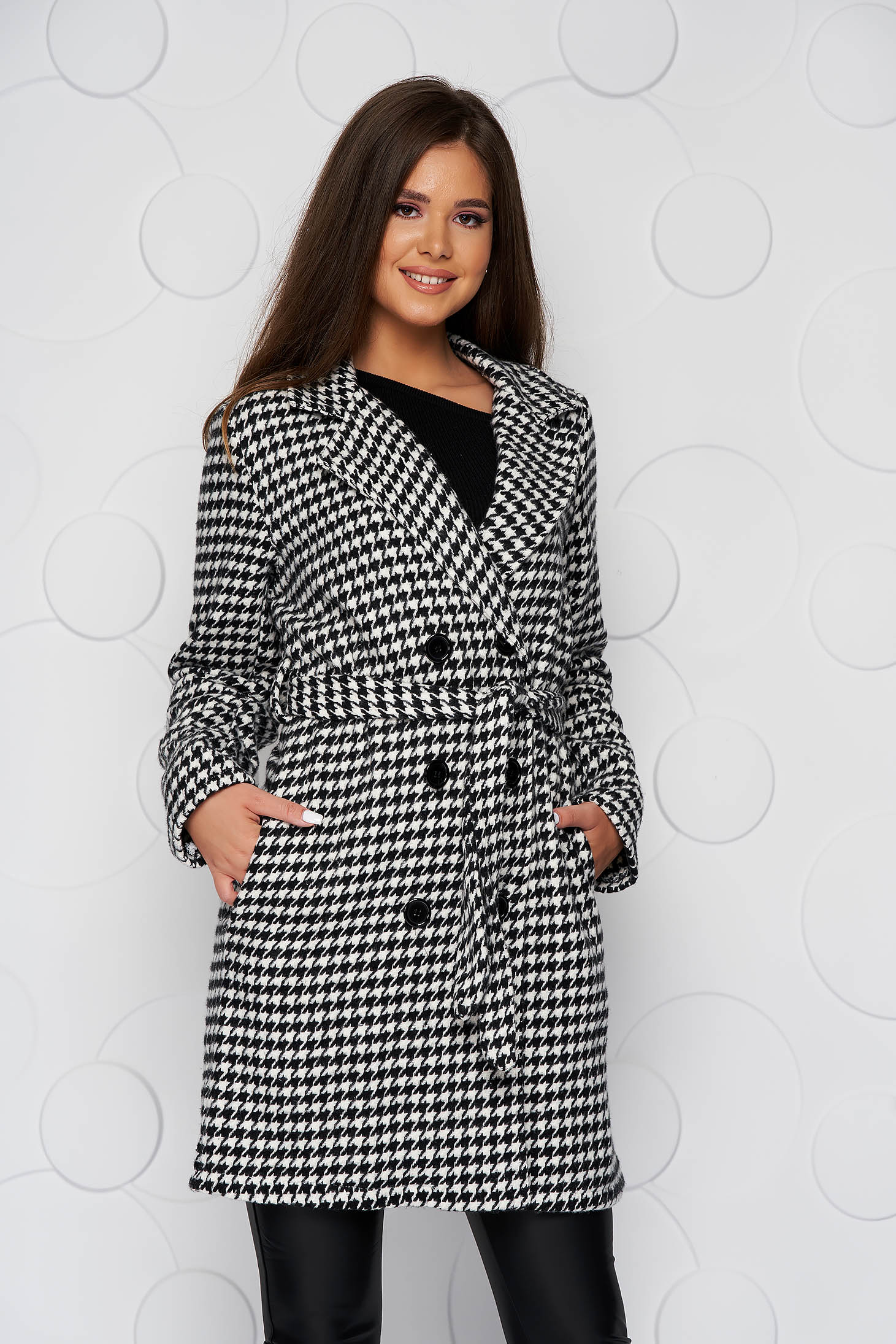 Overcoat thick fabric detachable cord lateral pockets soft fabric with straight cut