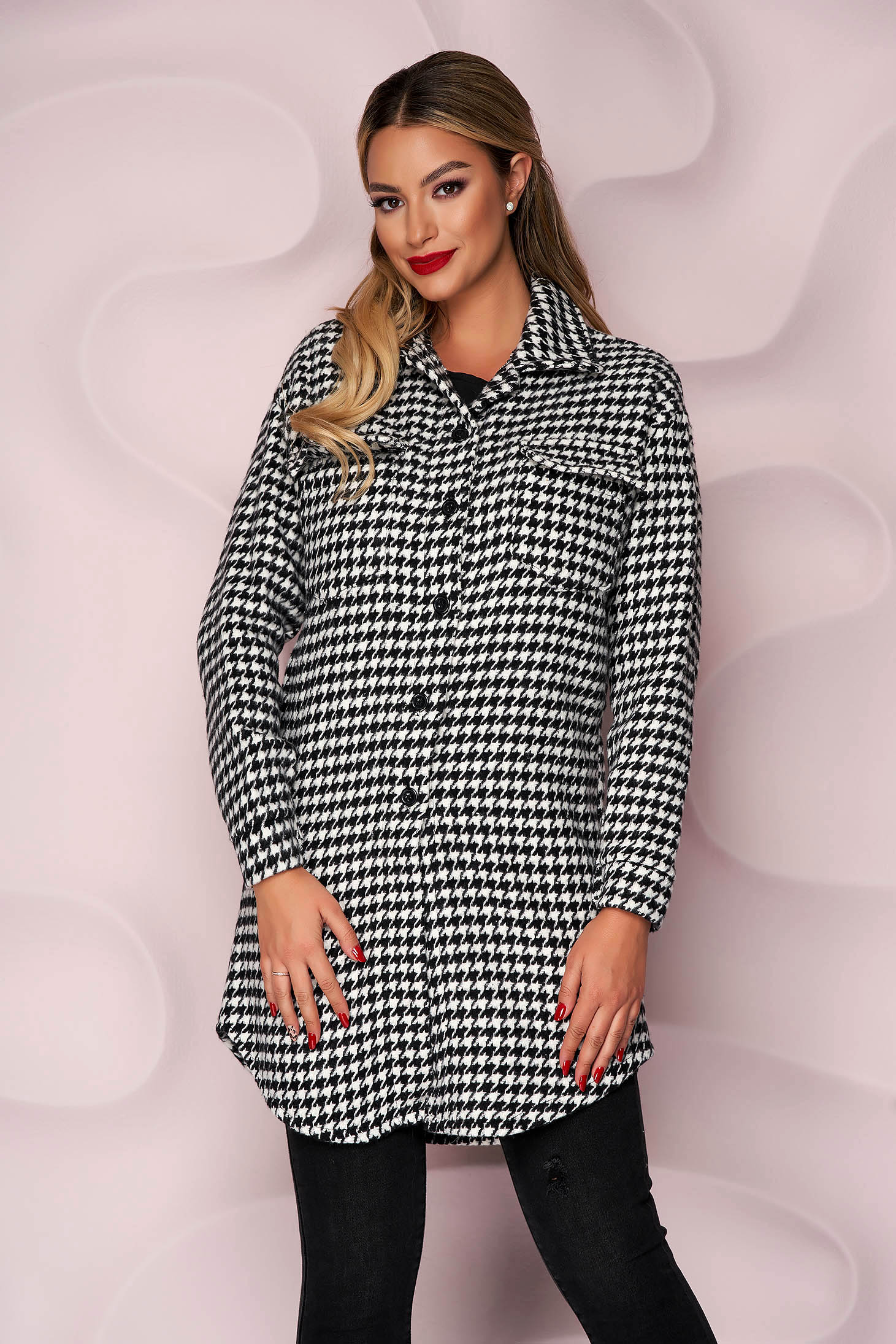 Overcoat thick fabric with front pockets without clothing soft fabric