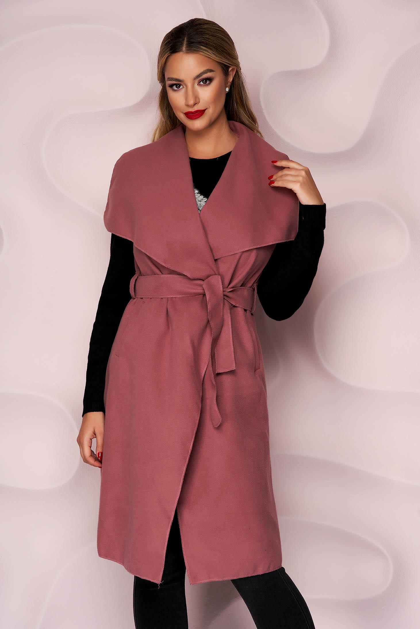 Vesta SunShine roz casual cu buzunare din material gros si fin la atingere si cordon detasabil