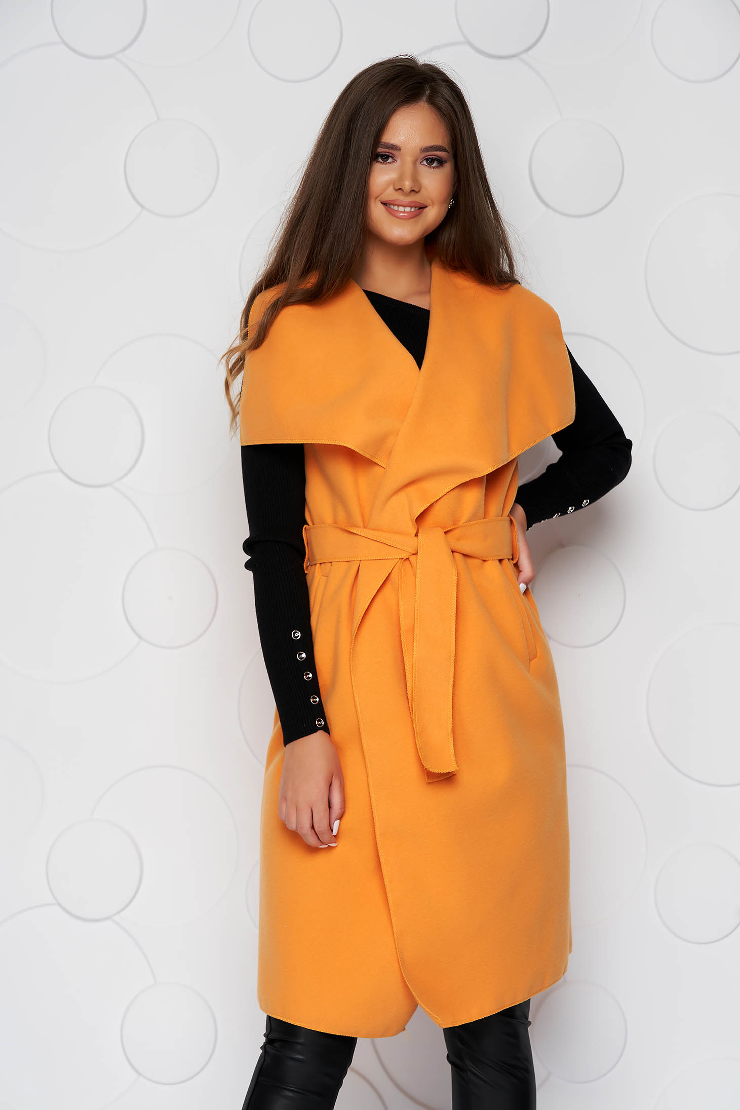 Orange gilet thick fabric casual with pockets detachable cord soft fabric