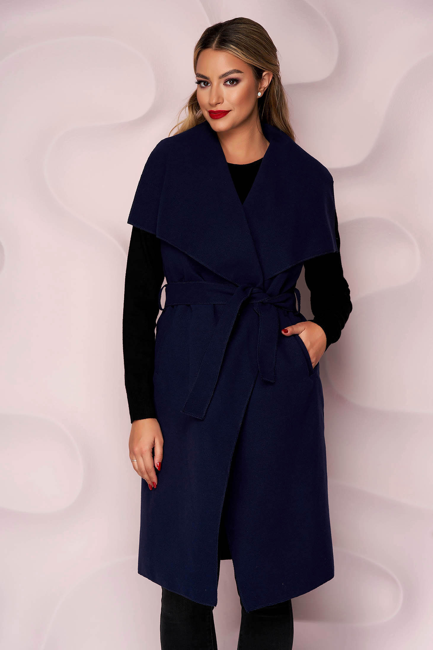 Darkblue gilet thick fabric casual with pockets detachable cord soft fabric