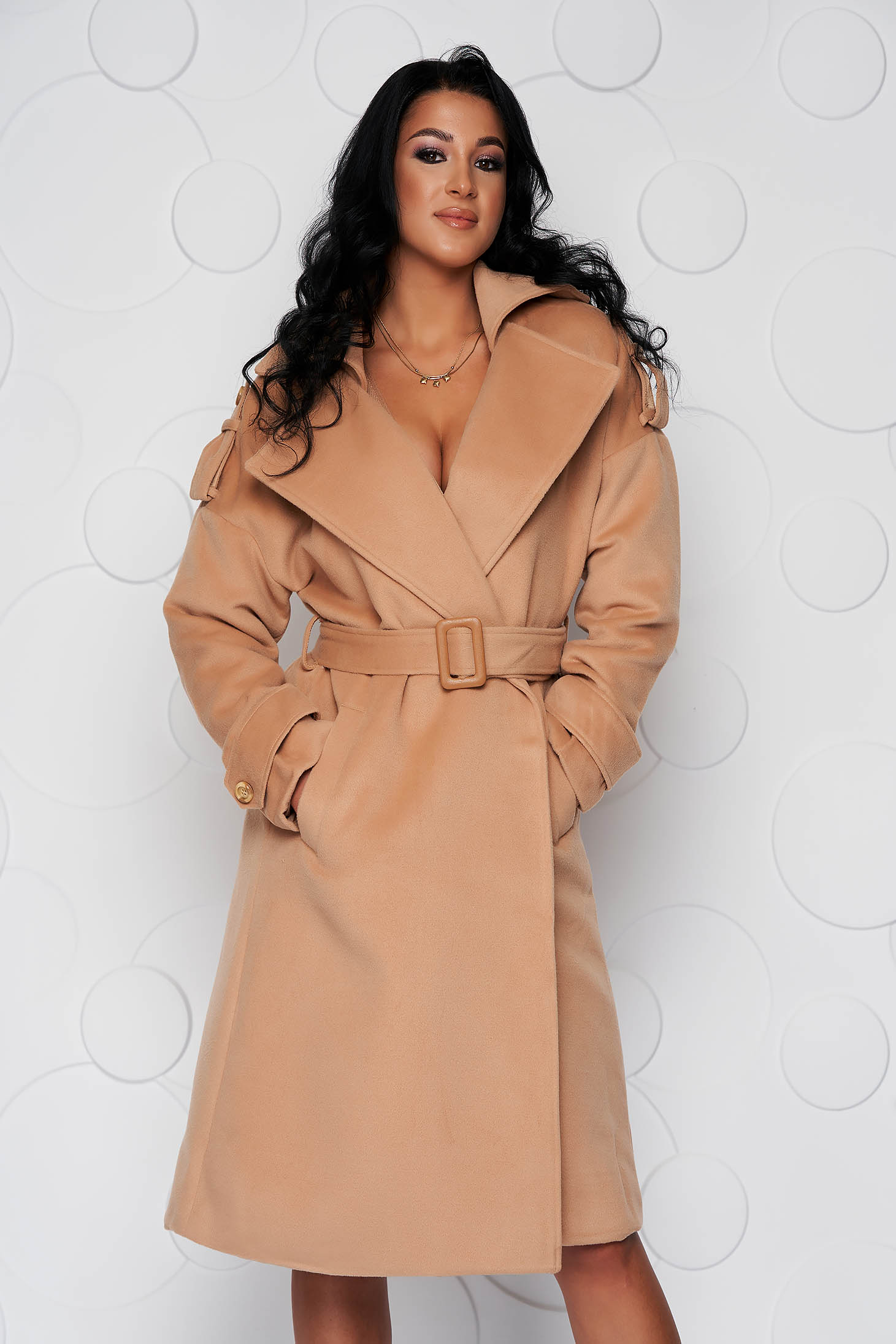 Palton SunShine crem casual lung cu croi larg din material gros din stofa si cordon detasabil
