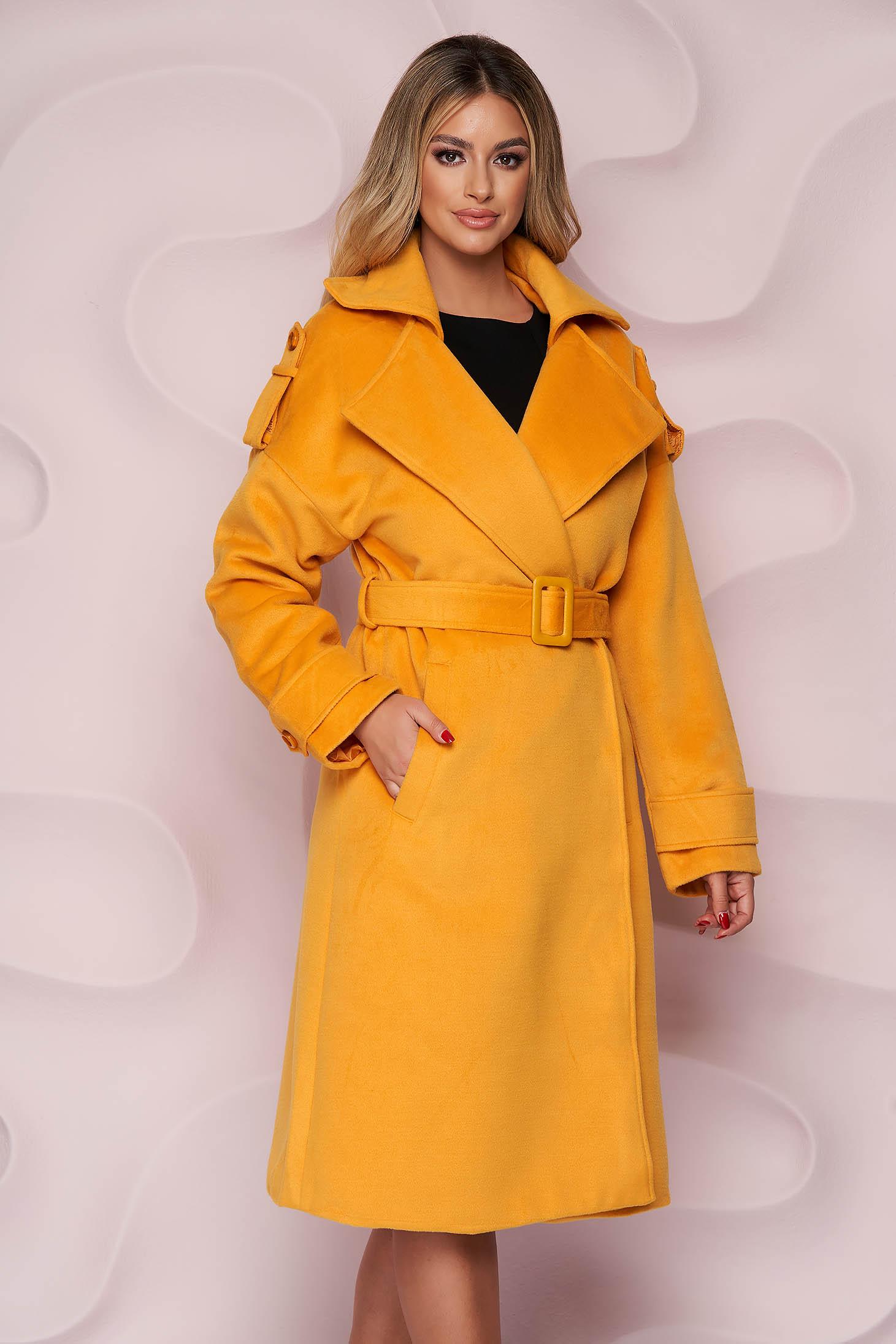 Palton SunShine mustariu casual lung cu croi larg din material gros din stofa si cordon detasabil