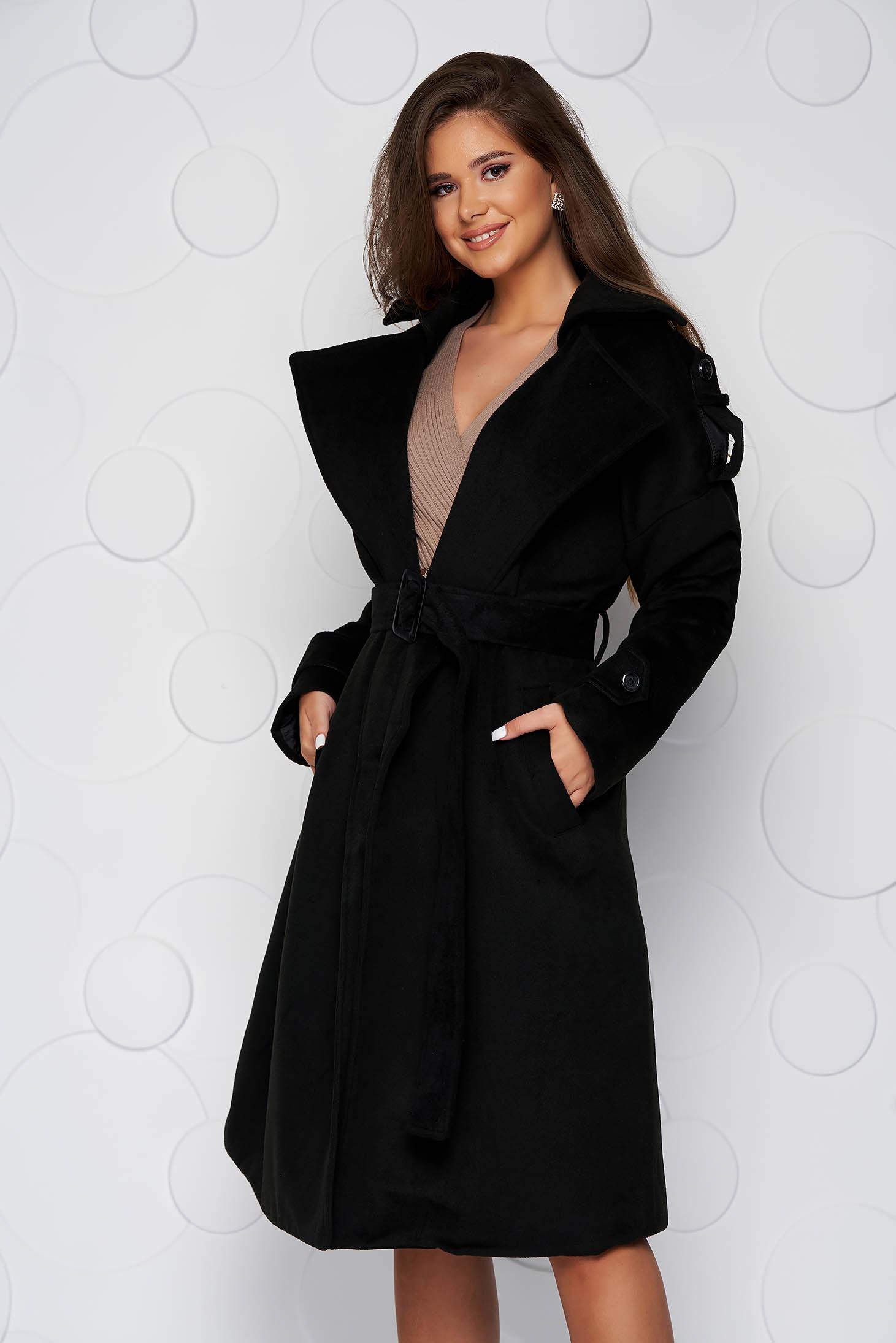 Palton SunShine negru casual lung cu croi larg din material gros din stofa si cordon detasabil