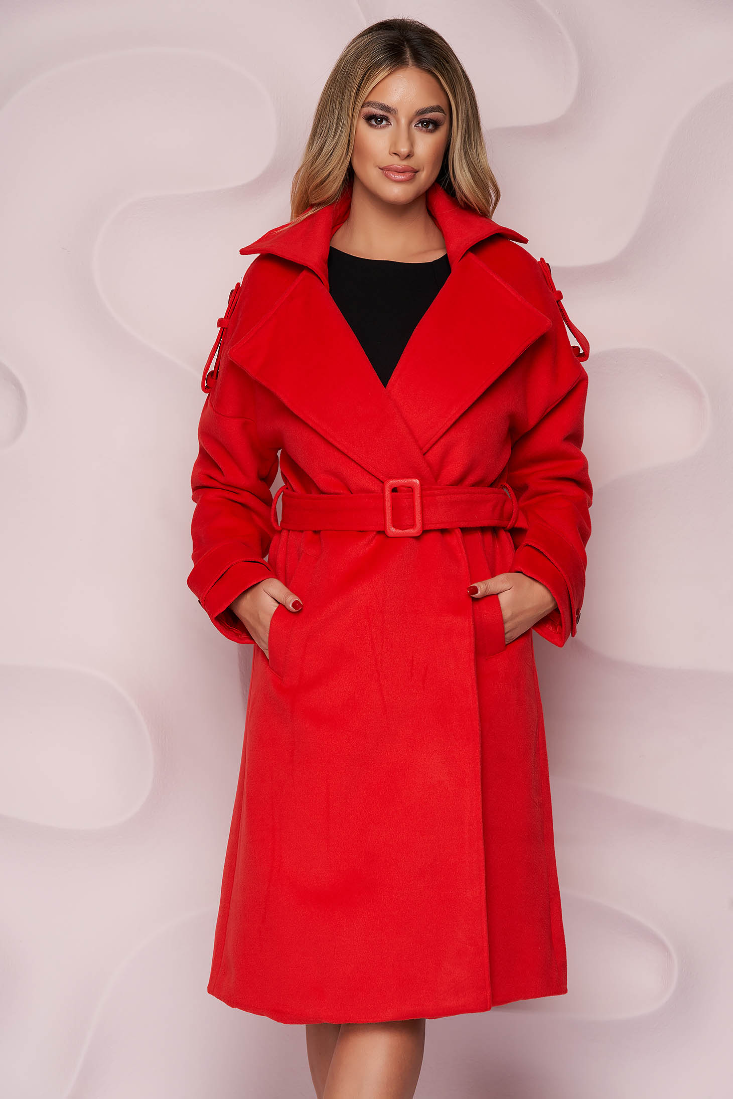Red coat casual thick fabric cloth loose fit long detachable cord