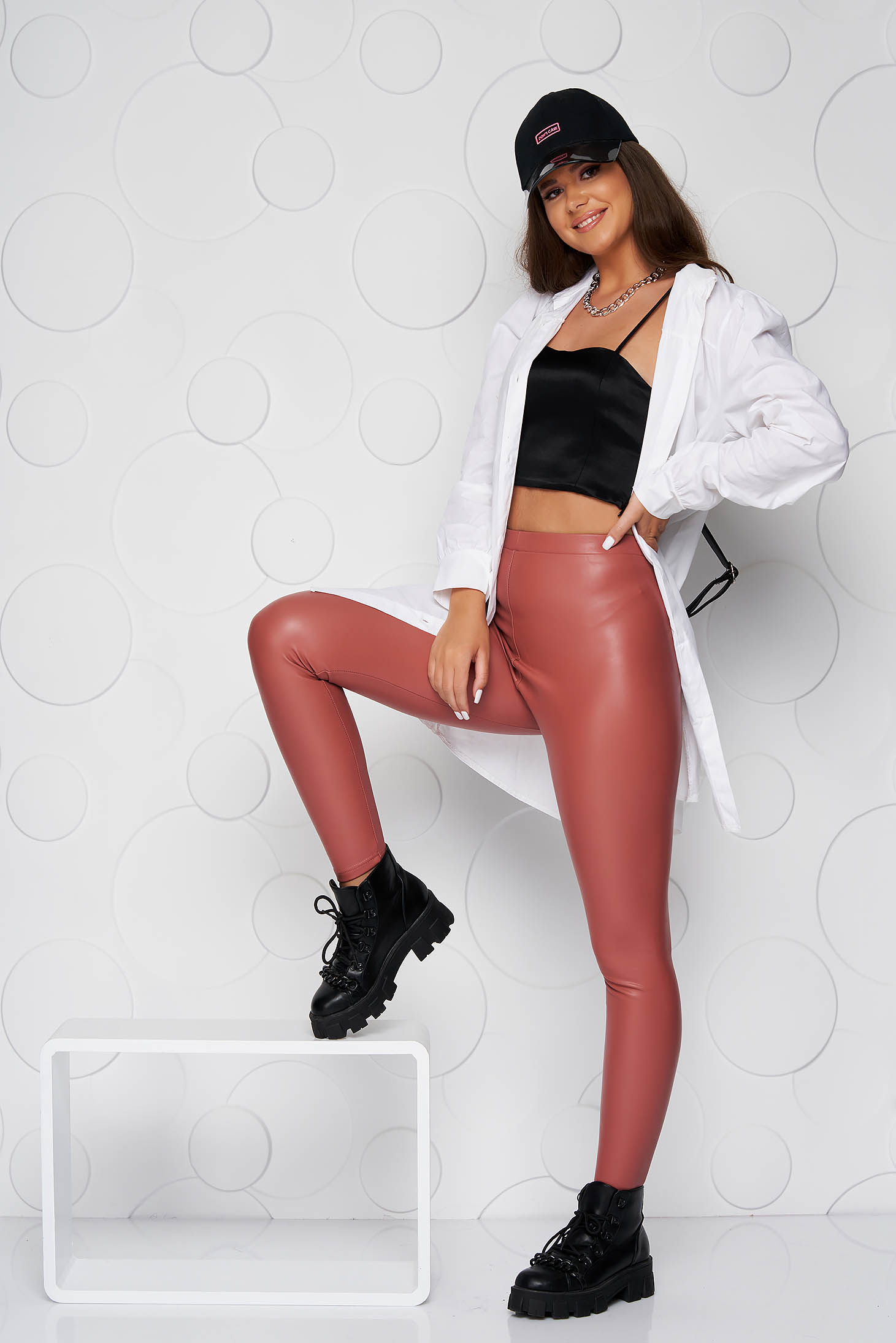 Colanti SunShine din piele ecologica roz cu talie inalta cu elastic in talie
