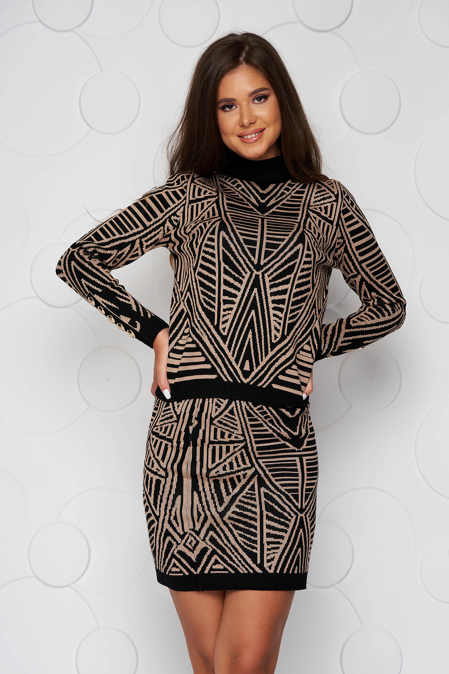 Brown lady set from elastic fabric knitted with tented cut with button accessories