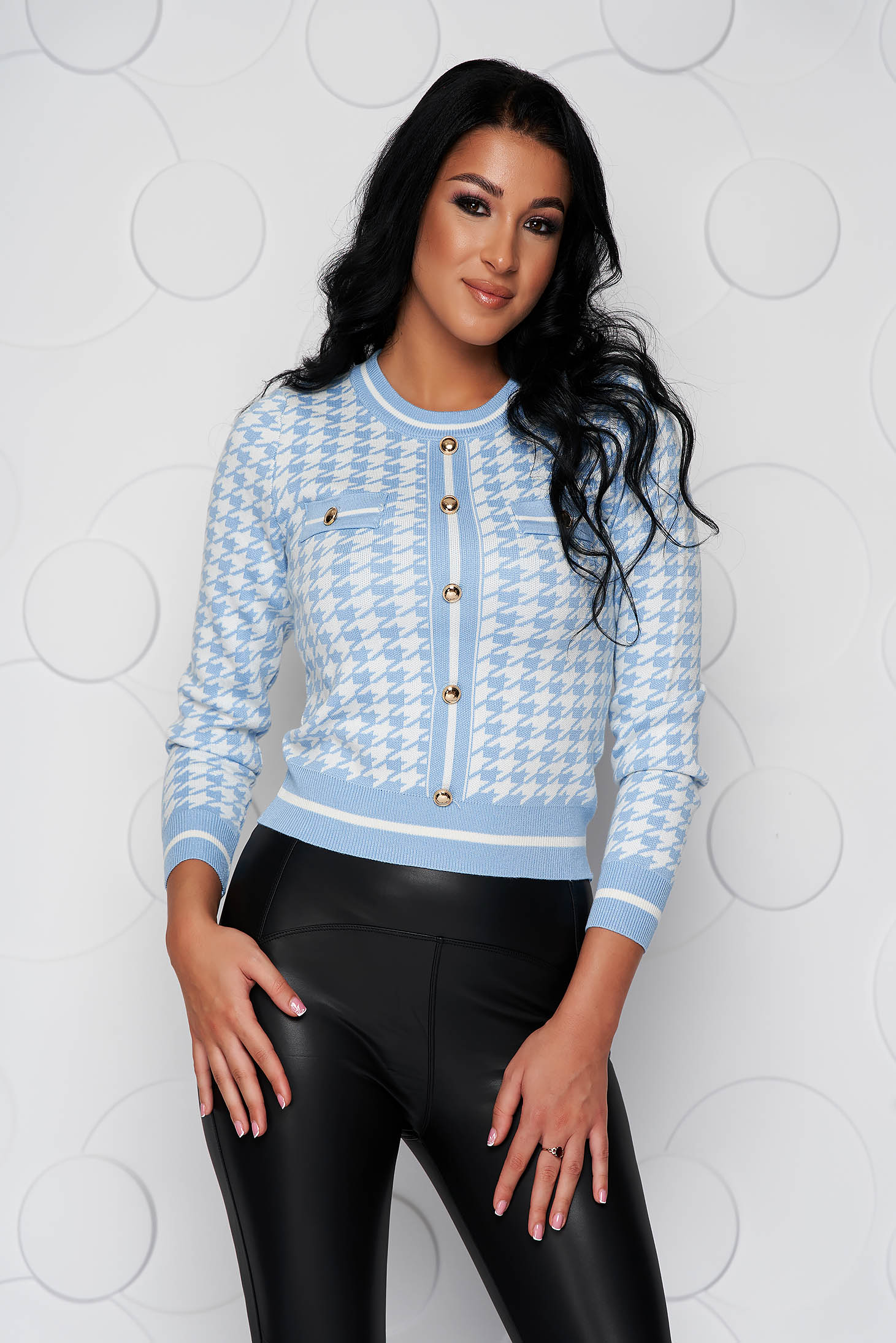 Sweater short cut casual knitted with button accessories accessorized pockets from elastic fabric