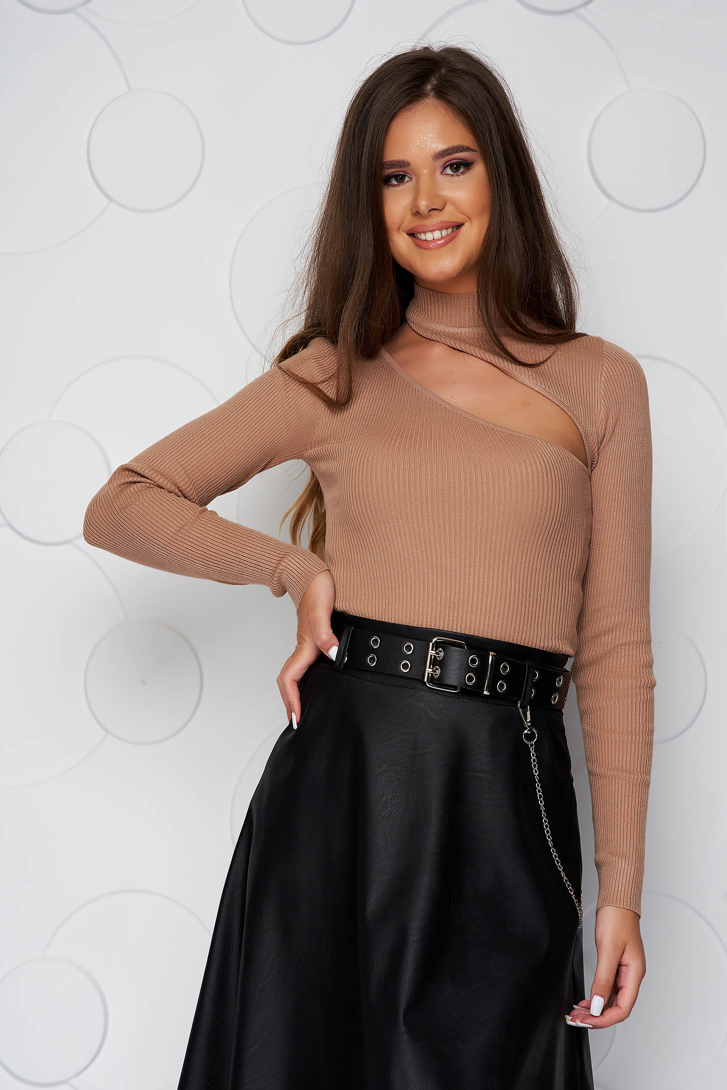 Brown women`s blouse tented short cut cut-out bust design knitted fabric from striped fabric