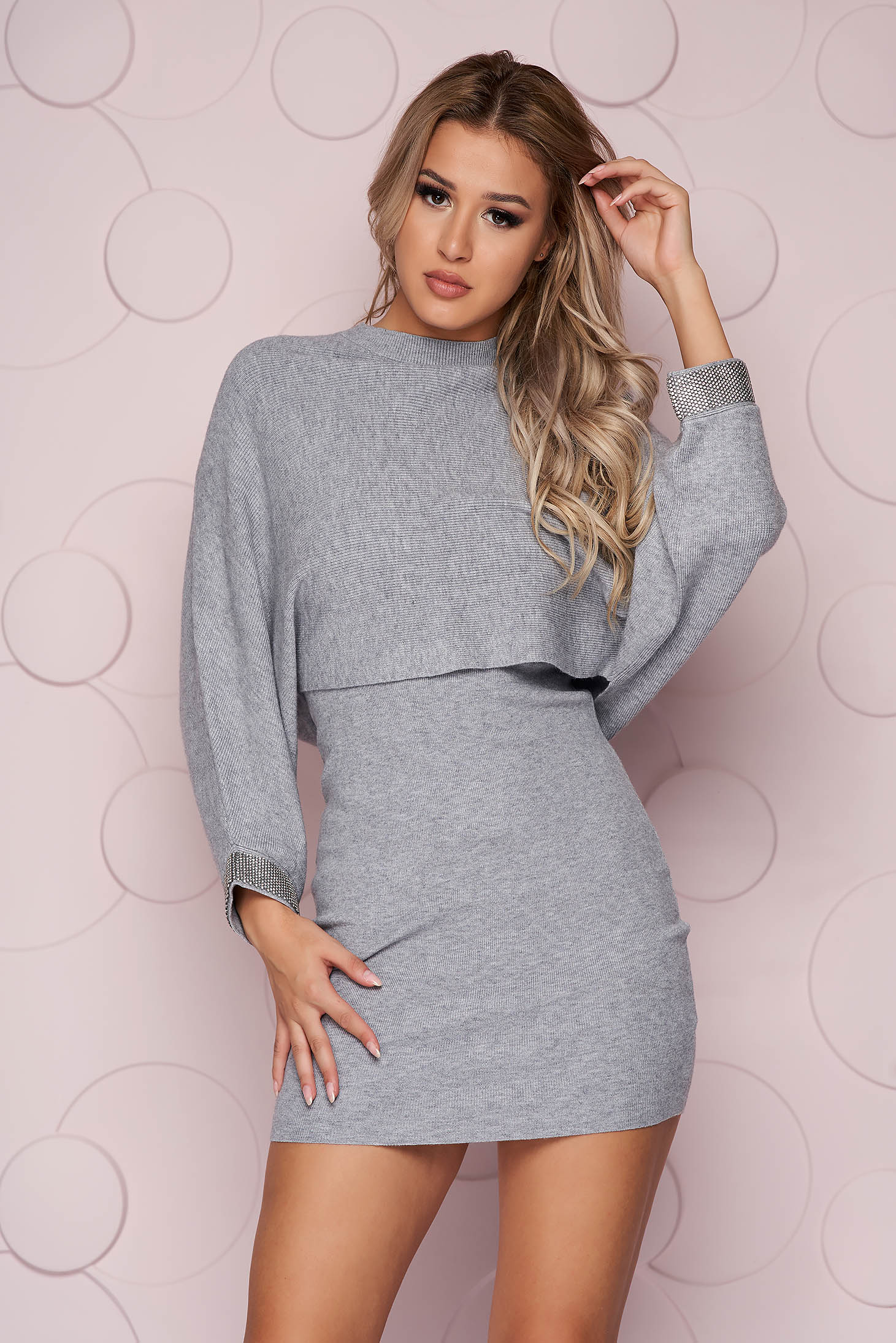 Grey dress with crystal embellished details knitted from elastic fabric long sleeve