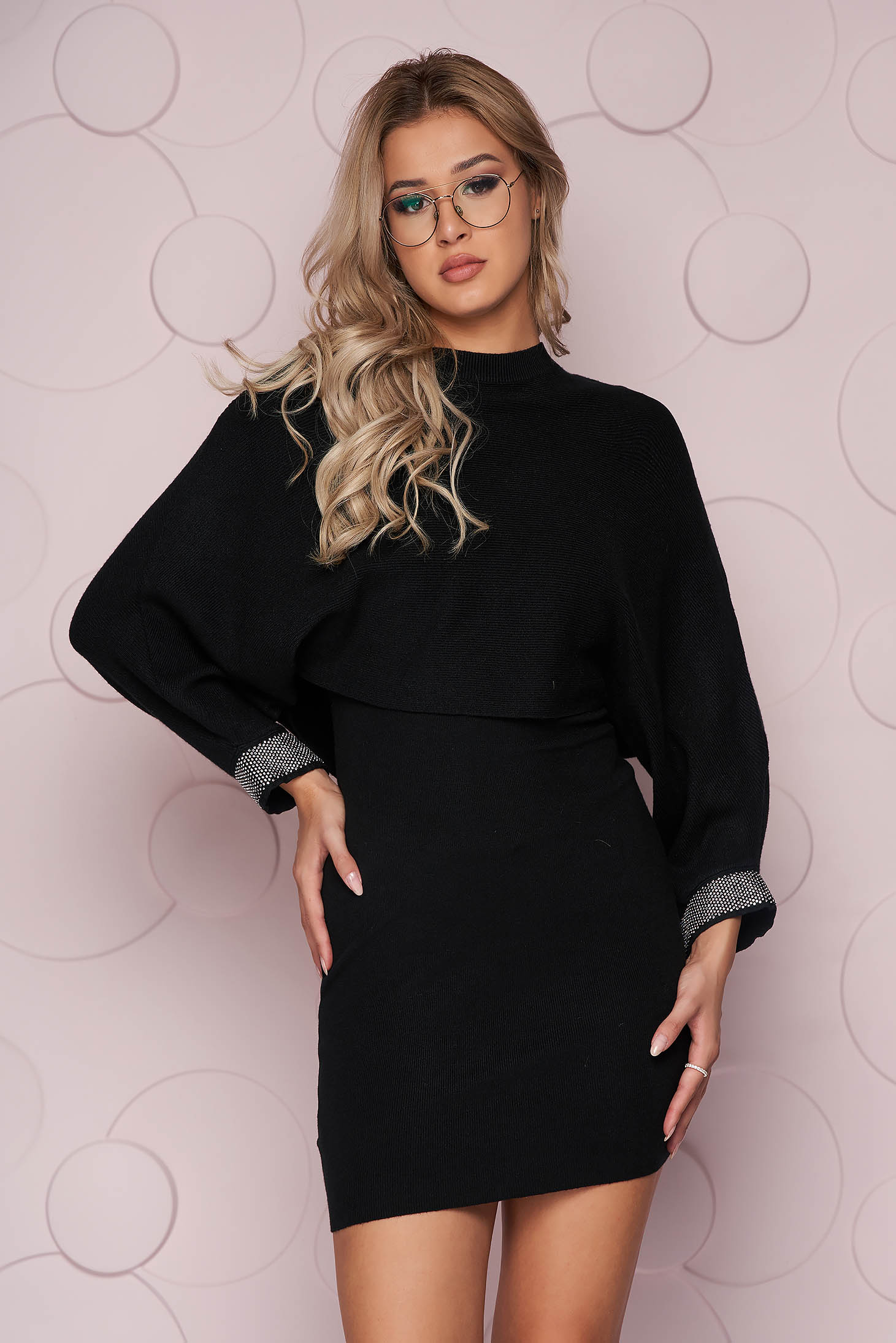 Black dress with crystal embellished details knitted from elastic fabric long sleeve