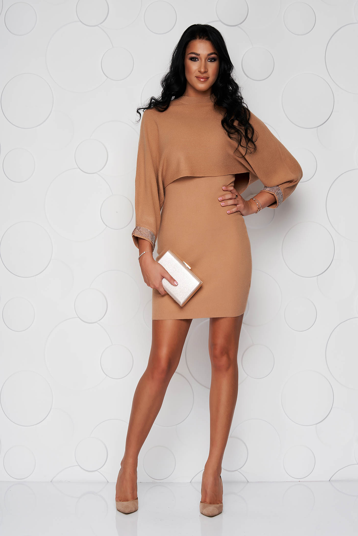 Brown dress with crystal embellished details knitted from elastic fabric long sleeve