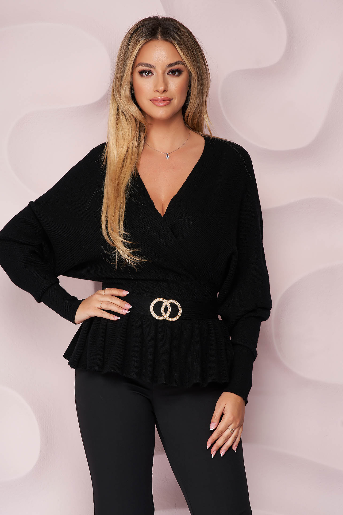 Black women`s blouse thin fabric knitted long sleeve accessorized with breastpin with ruffle details office