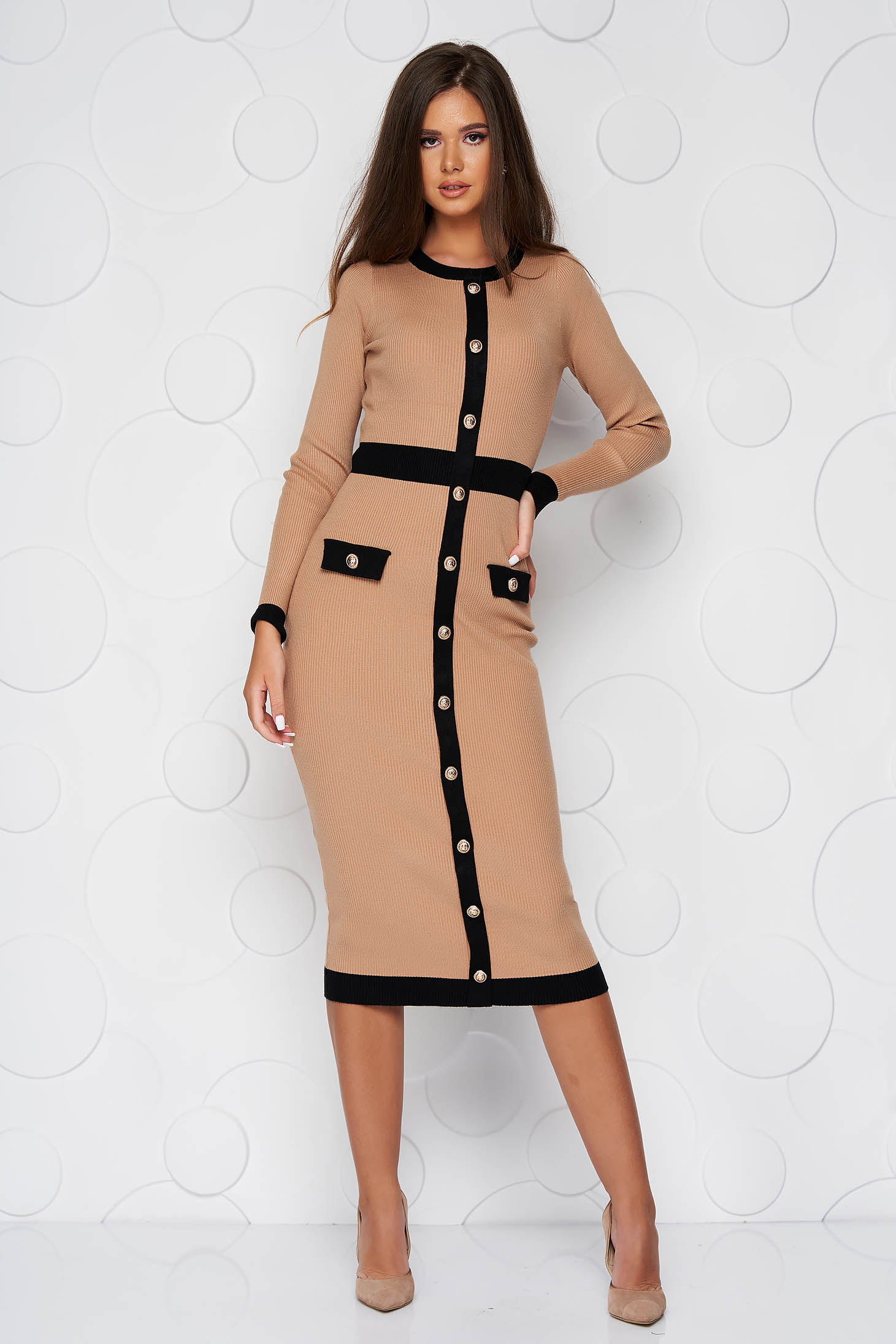 Brown dress with faux pockets pencil with button accessories knitted fabric midi