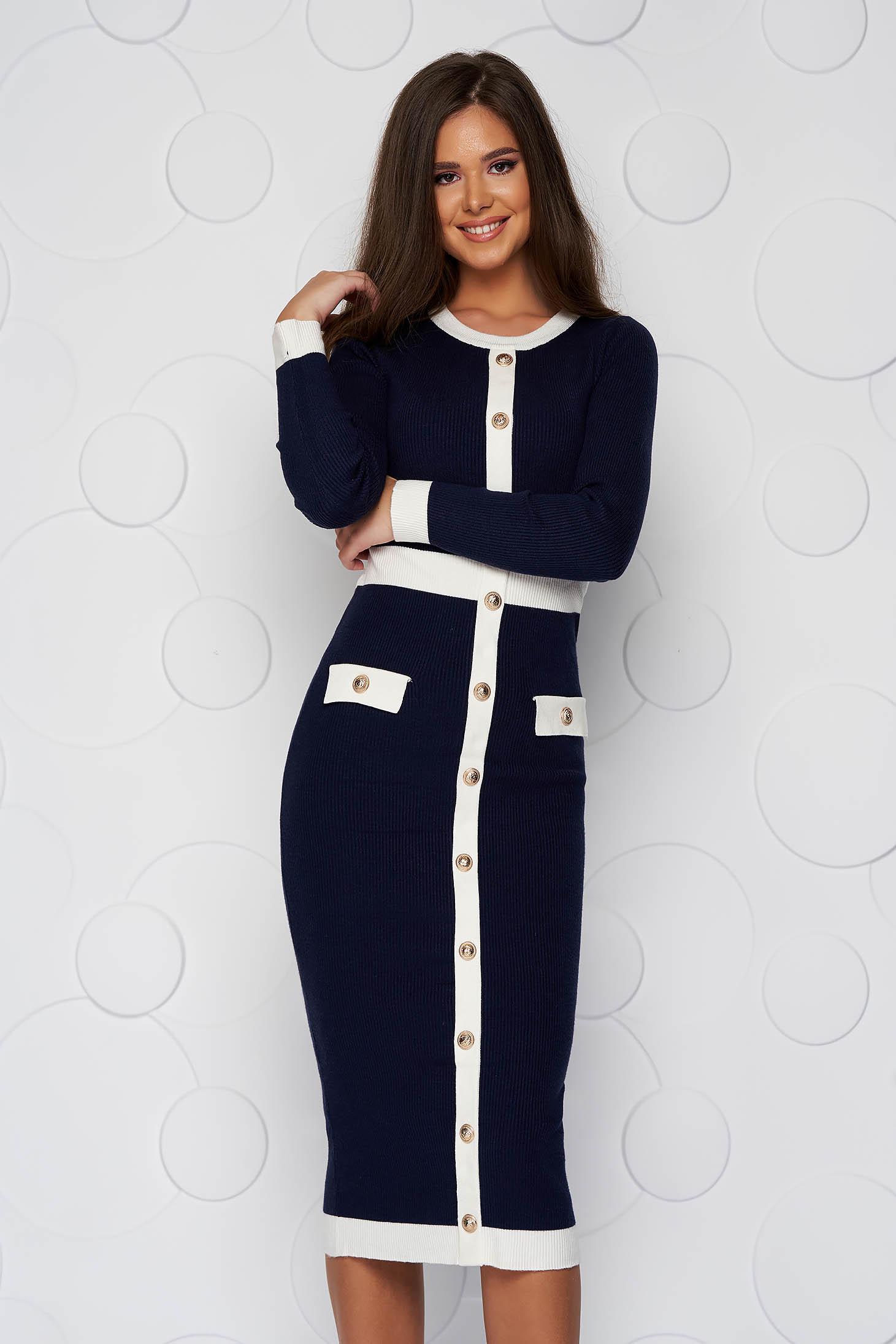 Rochie SunShine albastru-inchis midi tip creion din material tricotat accesorizata cu nasturi cu buzunare false
