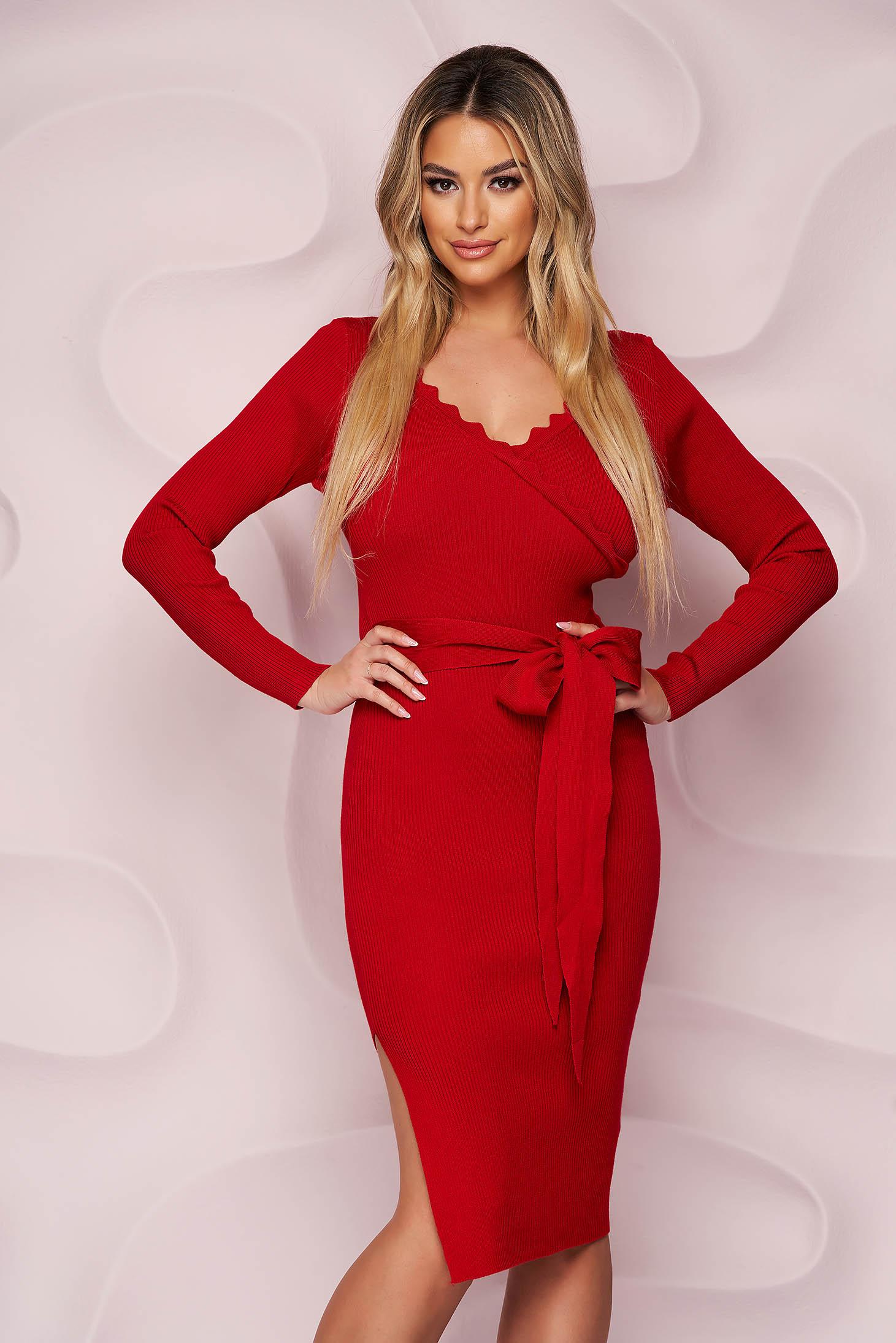 Rochie SunShine rosie casual midi din material tricotat elastic cu slit lateral si cordon