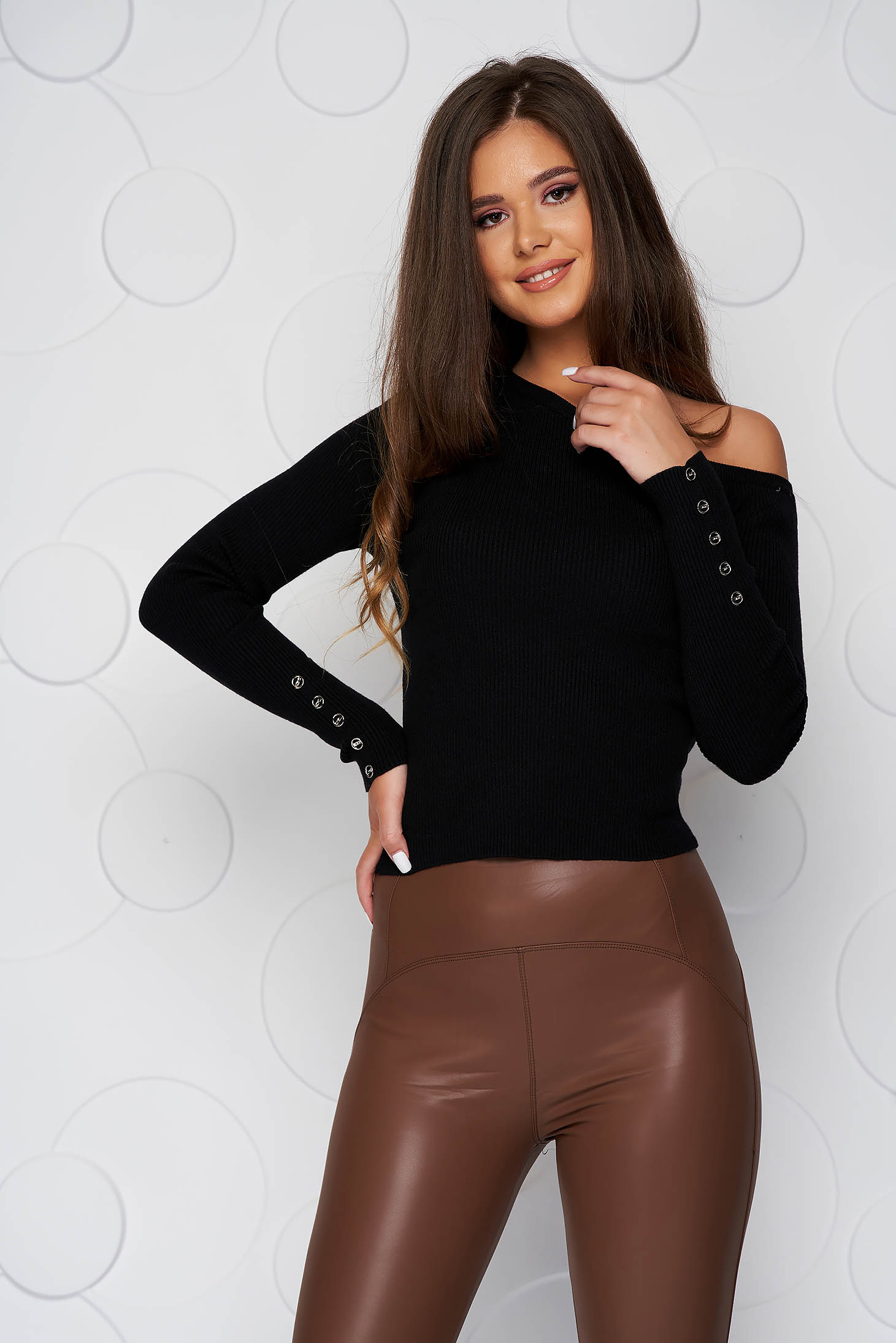 Black women`s blouse from elastic fabric knitted fabric with tented cut from striped fabric one shoulder