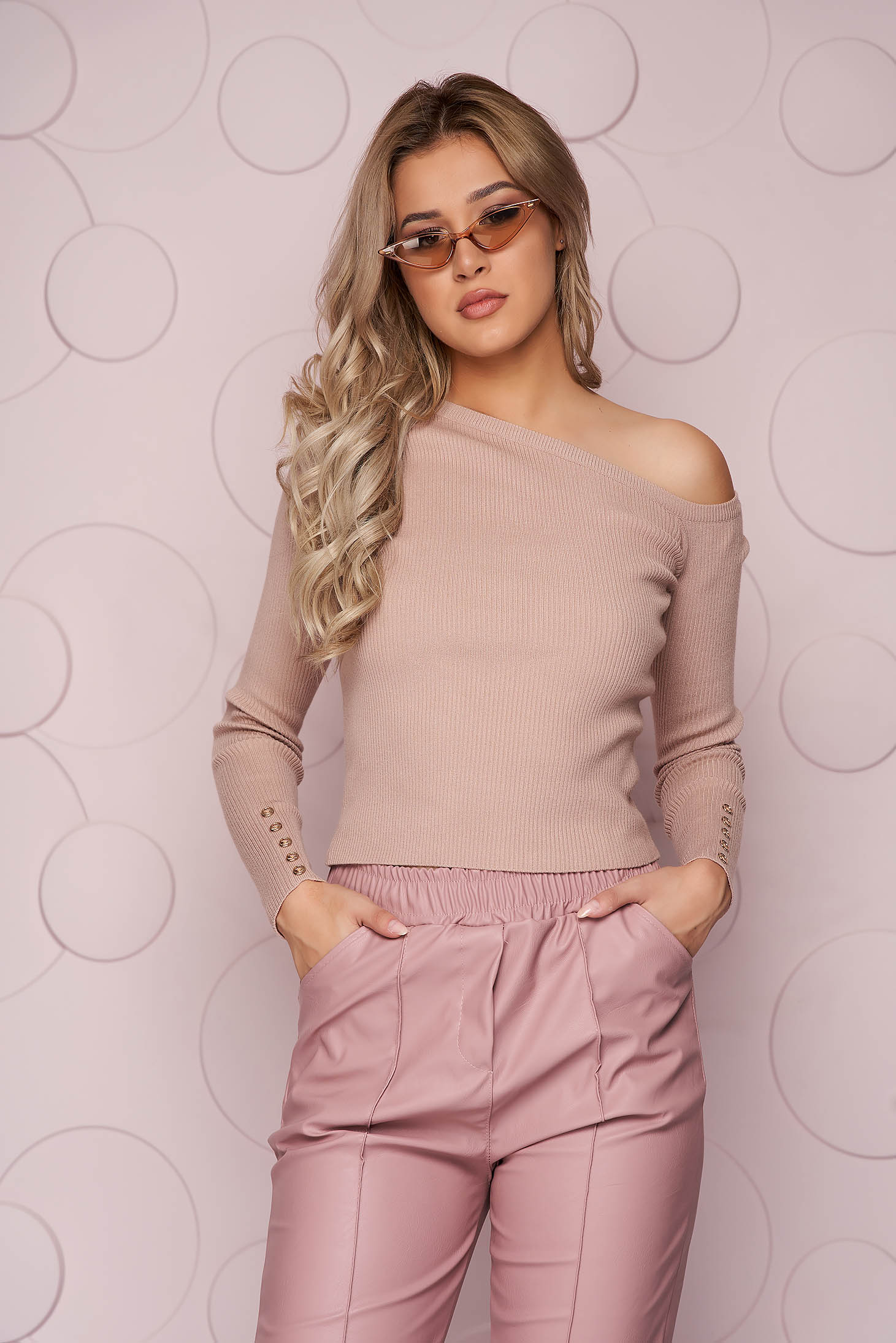Cream women`s blouse from elastic fabric knitted fabric with tented cut from striped fabric one shoulder