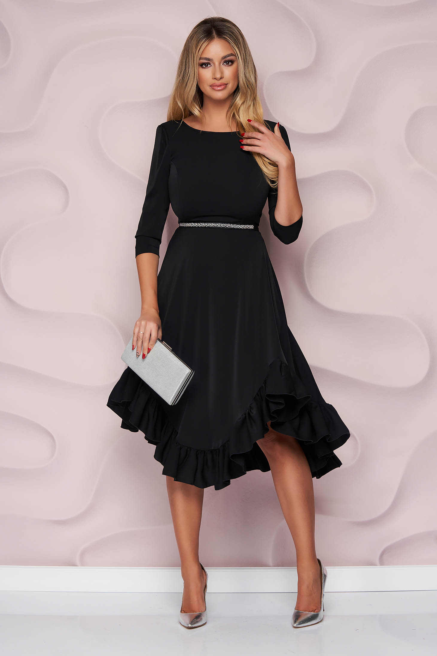 StarShinerS black dress occasional asymmetrical cloche with ruffles at the buttom of the dress nonelastic fabric light material