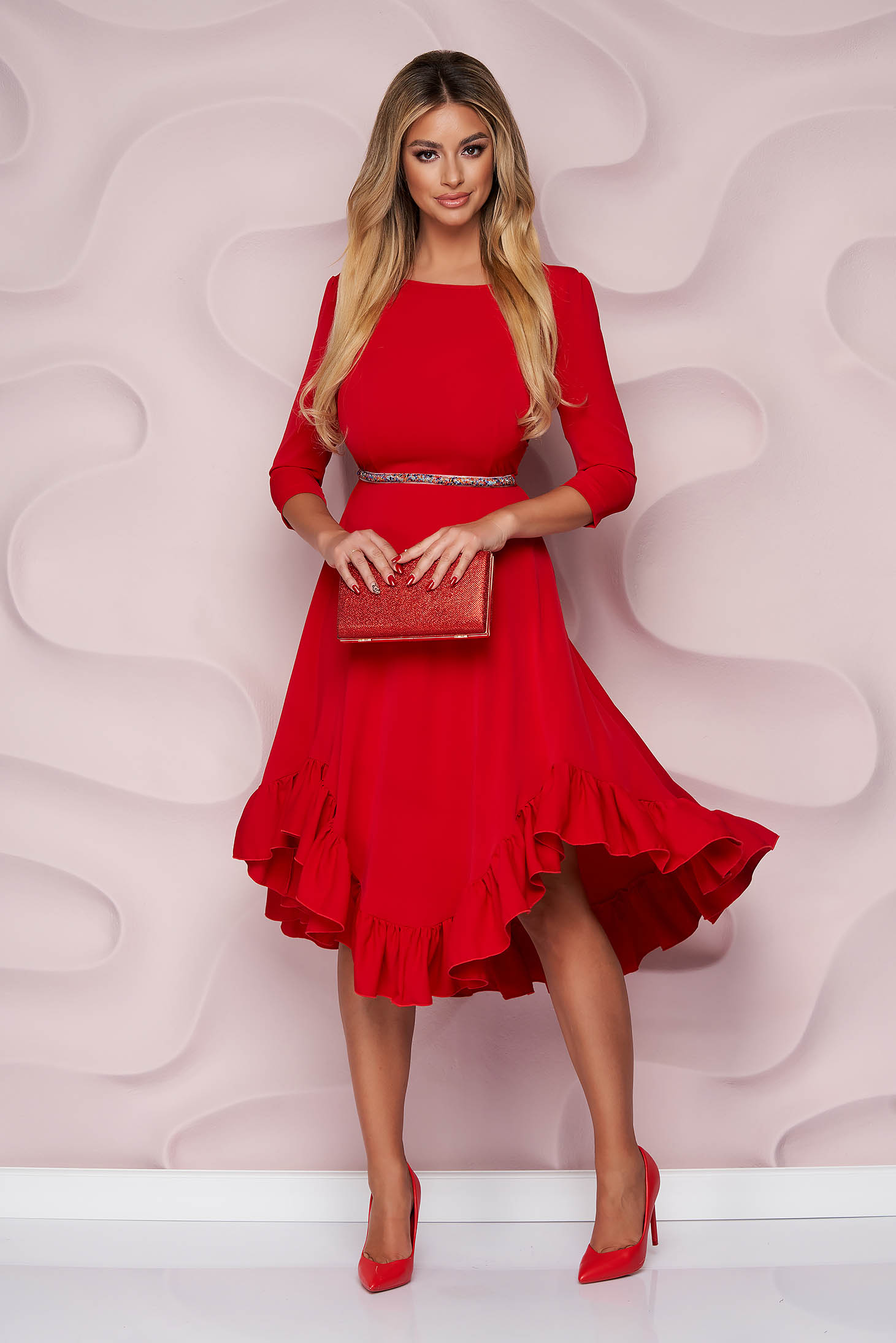 StarShinerS red dress occasional asymmetrical cloche with ruffles at the buttom of the dress nonelastic fabric light material