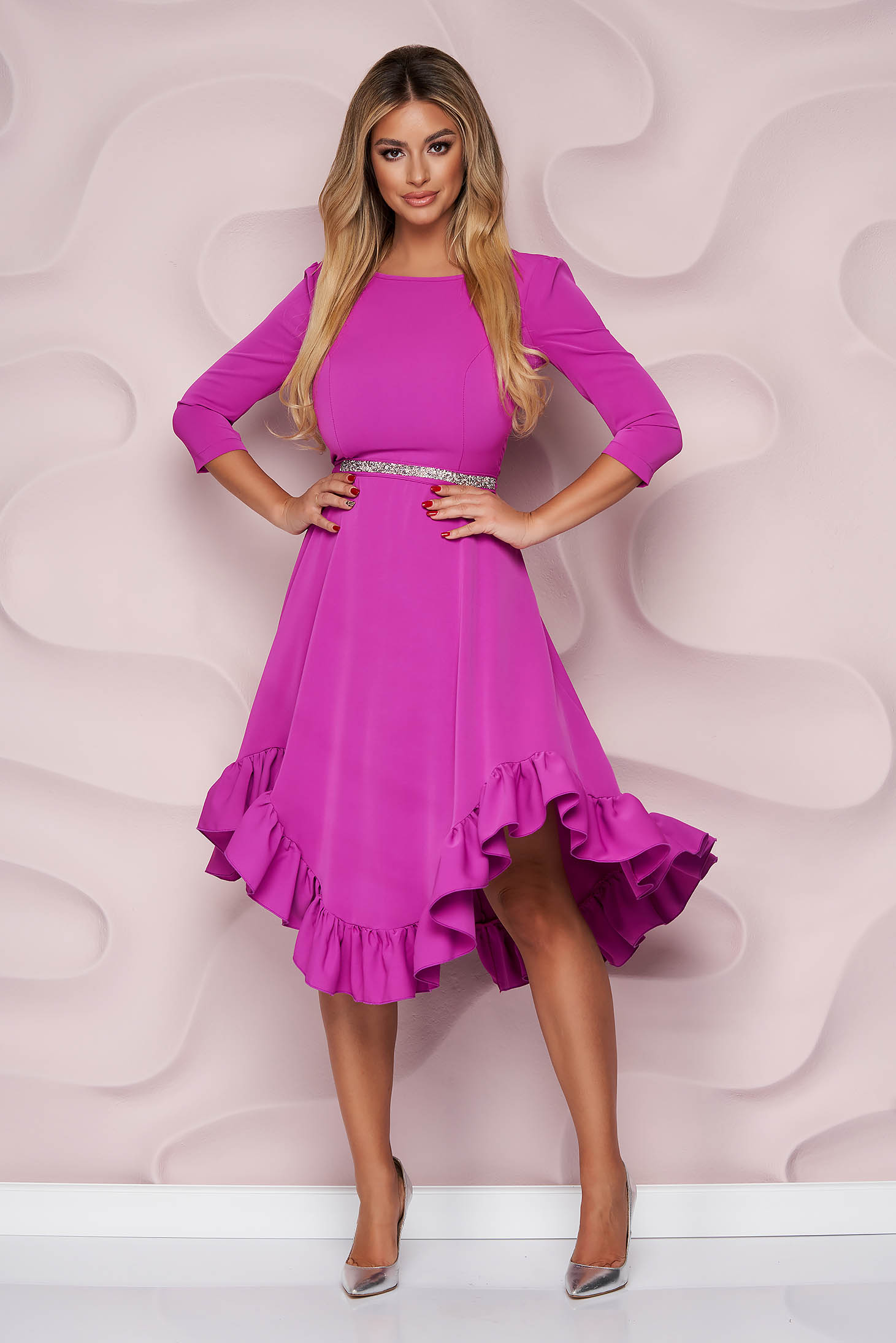 StarShinerS purple dress occasional asymmetrical cloche with ruffles at the buttom of the dress nonelastic fabric light material