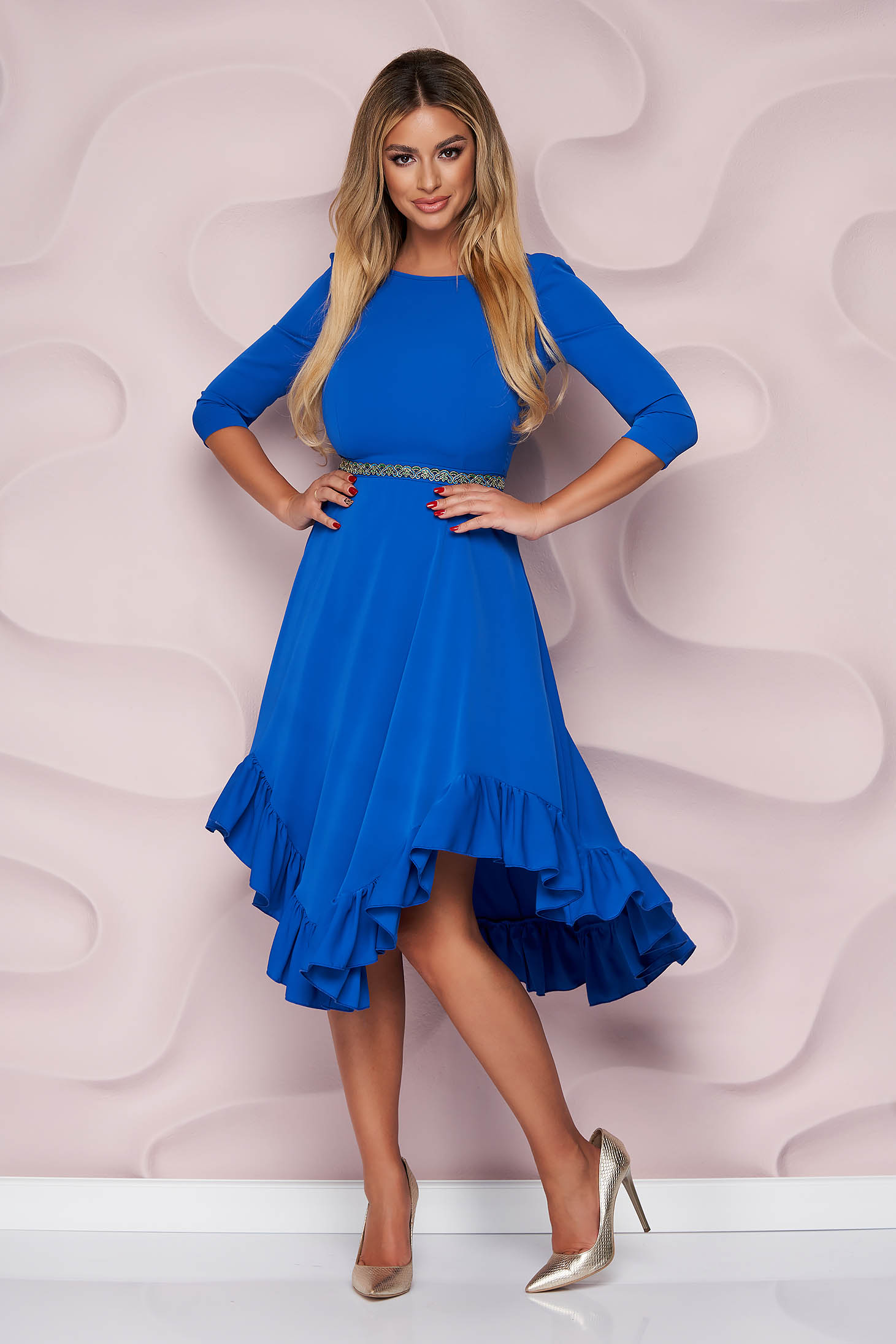 StarShinerS blue dress occasional asymmetrical cloche with ruffles at the buttom of the dress nonelastic fabric light material