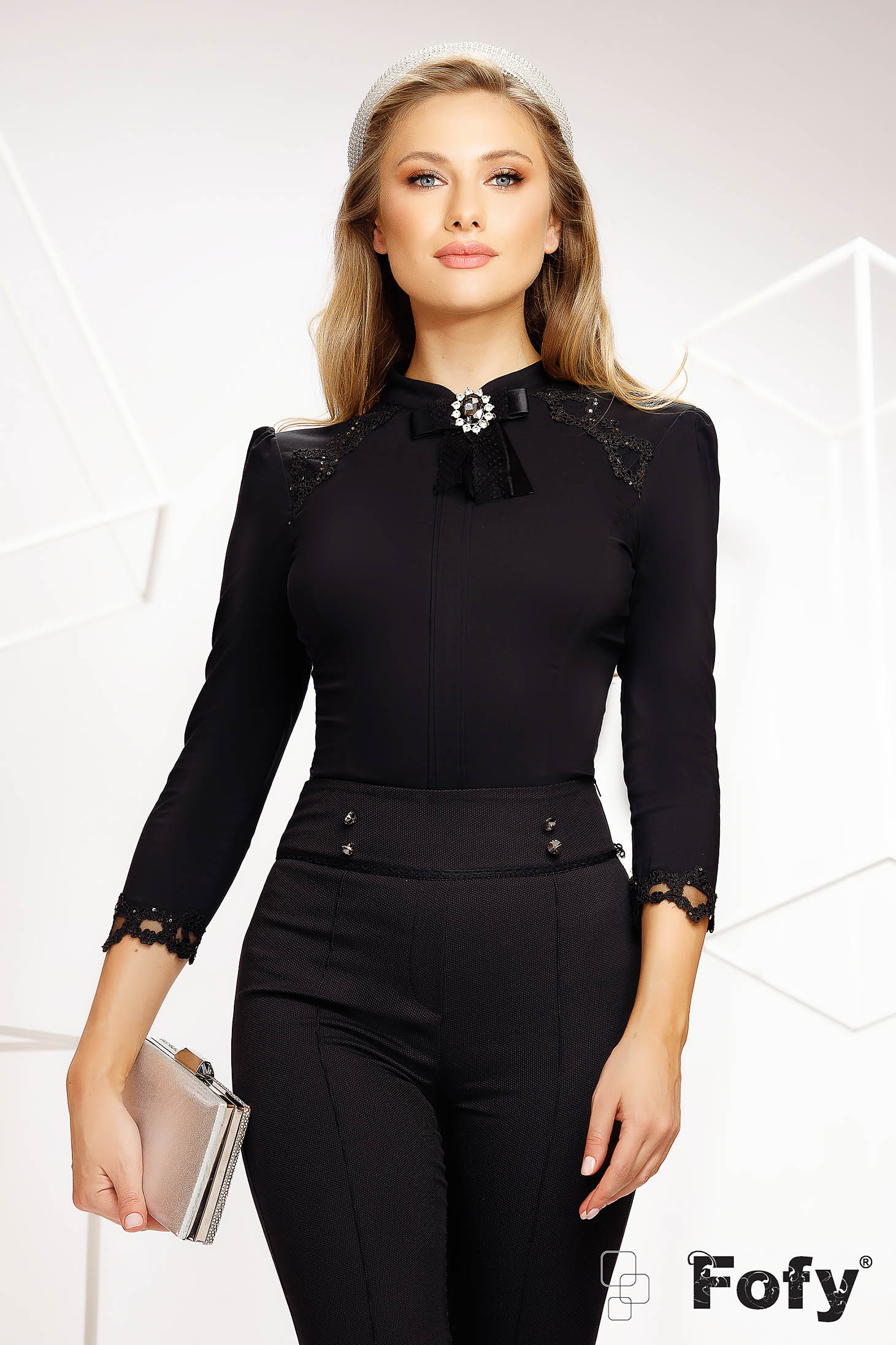 Black women`s shirt elastic cotton office accessorized with breastpin with embroidery details with sequin embellished details